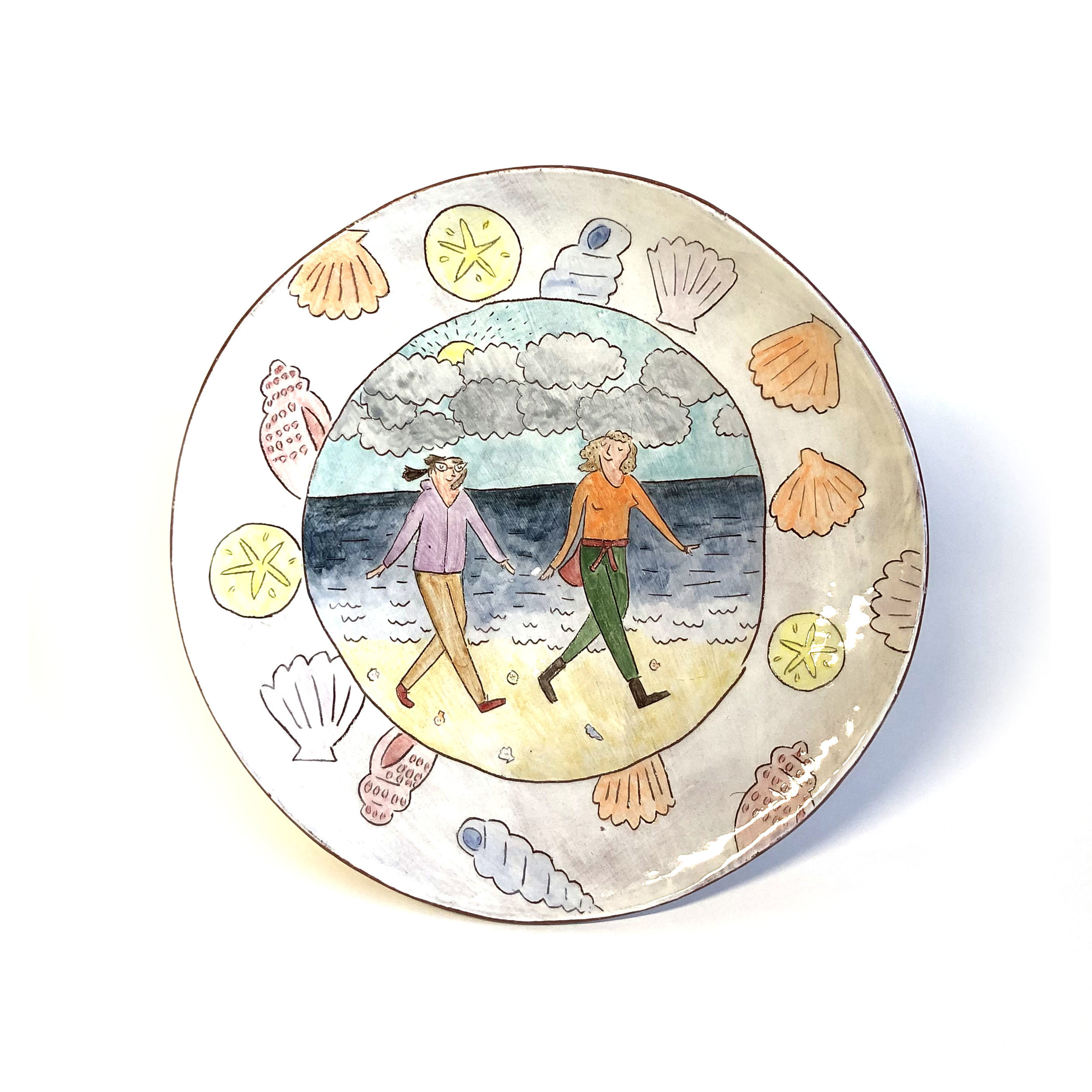 - A sweet plate memorializing a special friendship that is filled with long walks on windy beaches.