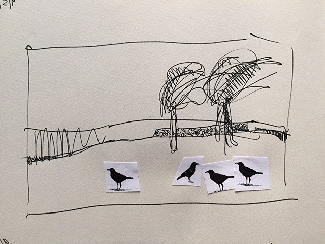 Tree Sketch with Crows 1