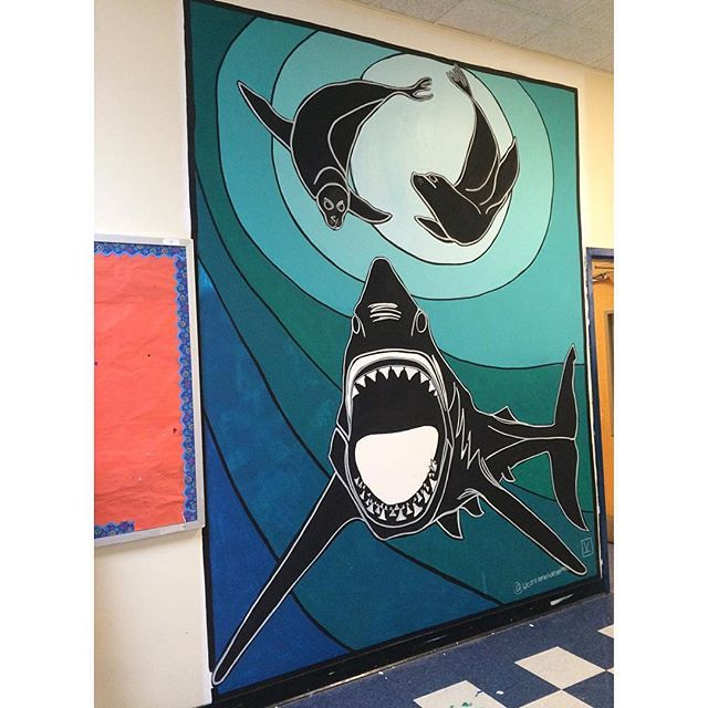 The great cycle of life. Completed work by @weareamericananimals at EBC High School for Public Service. Thank you for you public service Kelly! Big thanks also to @psag_nyc  @kathrynandrews @abroz8 Mike Simonetti and EBC High School for everything.  #mural #animalart #streetart #wallart #greatwhite #shark #seals #acrylic #ebcart #bushwickart #brooklynart #blackandwhite #inthestudio #getcreative #bl_art #psag_nyc