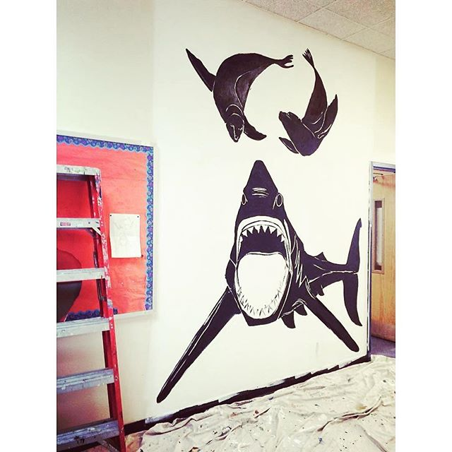 FOOD CHAIN!!! The talented @weareamericananimals as been a part of the EBC family for years and we are honored to have her in here working on this snacking shark mural #WIP #mural #animalart #greatwhite #bushwickart #painting #streetart #wallart #getcreative #brooklynart #psag #brooklynk #bl_art