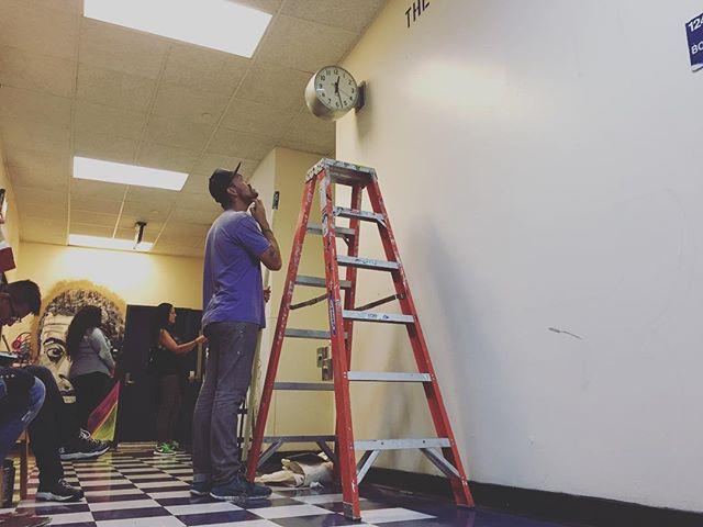 The new season begins! @maspaz @ismaelpiruch & @misschelove with @psag_nyc getting ready to start their murals at EBC High School for Public Service. Thank you all for your public service! #maspaz #misschelove #ismaelpiruch #psag #publicserviceartistsguild
