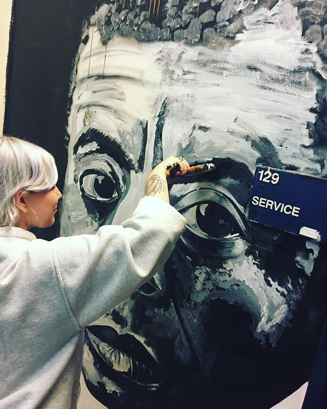 @masoneve dedicated to Public Service through art! Reworking her James Arthur Baldwin portrait outside the cafeteria. Thank you for your ongoing public service to the school Mason. #publicservice #psag #publicserviceartistsguild