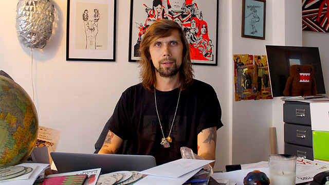 Busy P in Ed Banger's Paris office