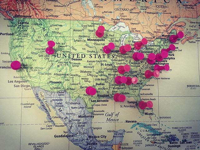 We put a map up to track which states we have provided musical instruments in! Our goal is to get to all 50 states! #motivationalmondays #playmusic #inspirationalthoughts #womenfounders #acousticguitars #unitedstatesofamerica #usa #guitars4gifts