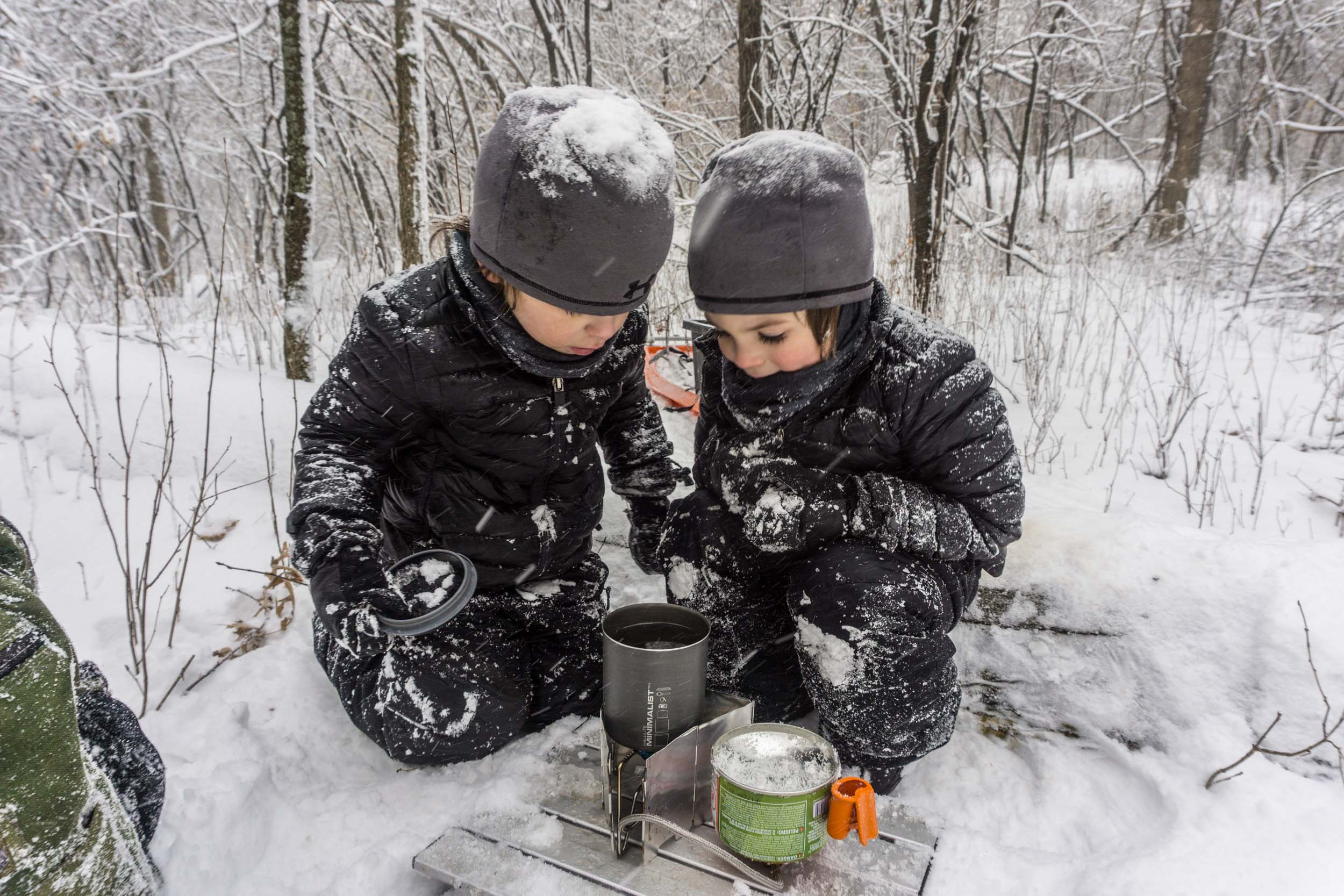 This is what Nick and the boys did today. 1.5 mile blizzard hike including a stop to make lunch in the woods and a stop at the playground. #mnboys #swedishpride #mntough #norwegianpride #nofear