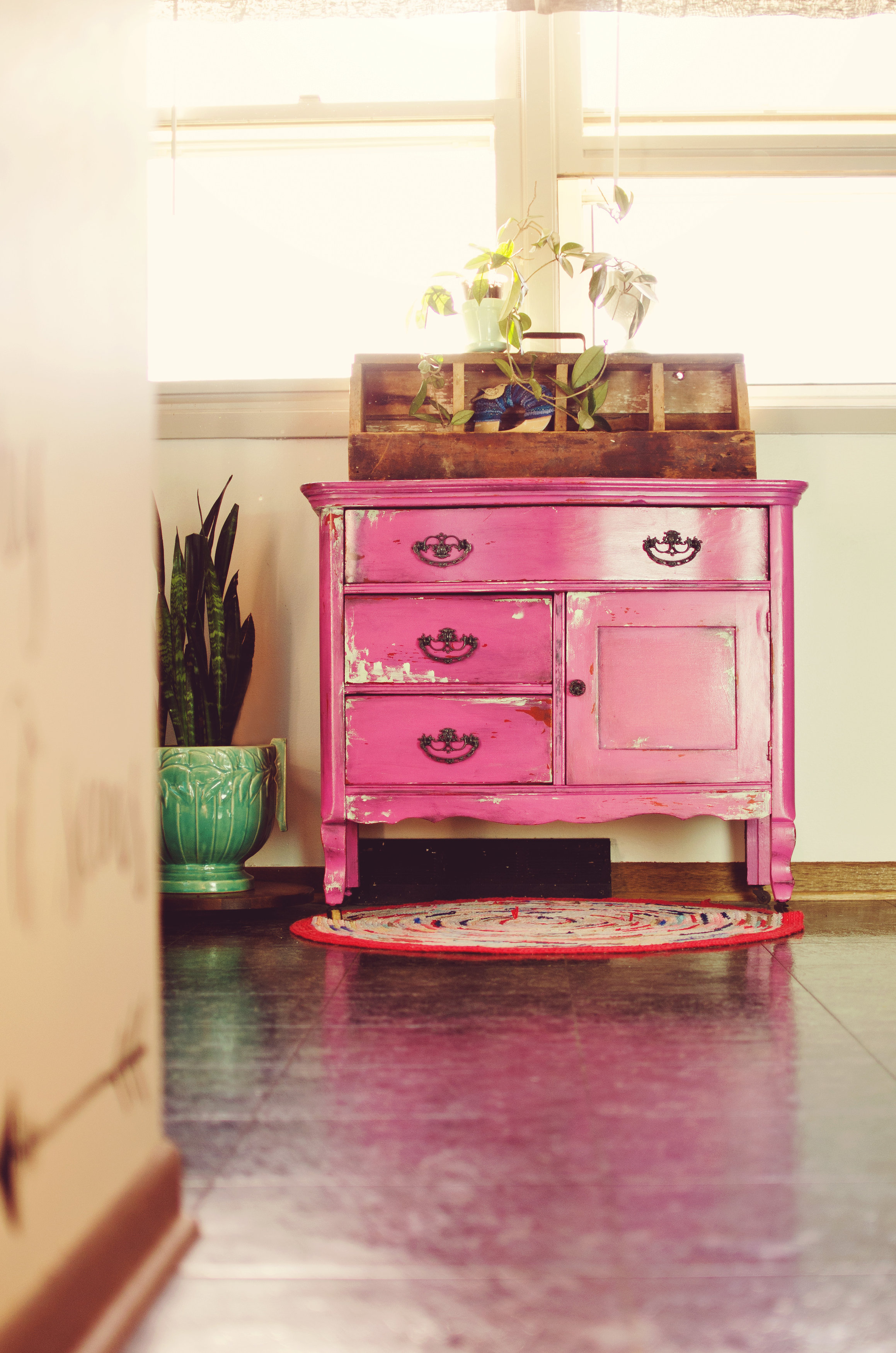 Pink vintage dresser. H.Prall & Co. | hprallandco.com