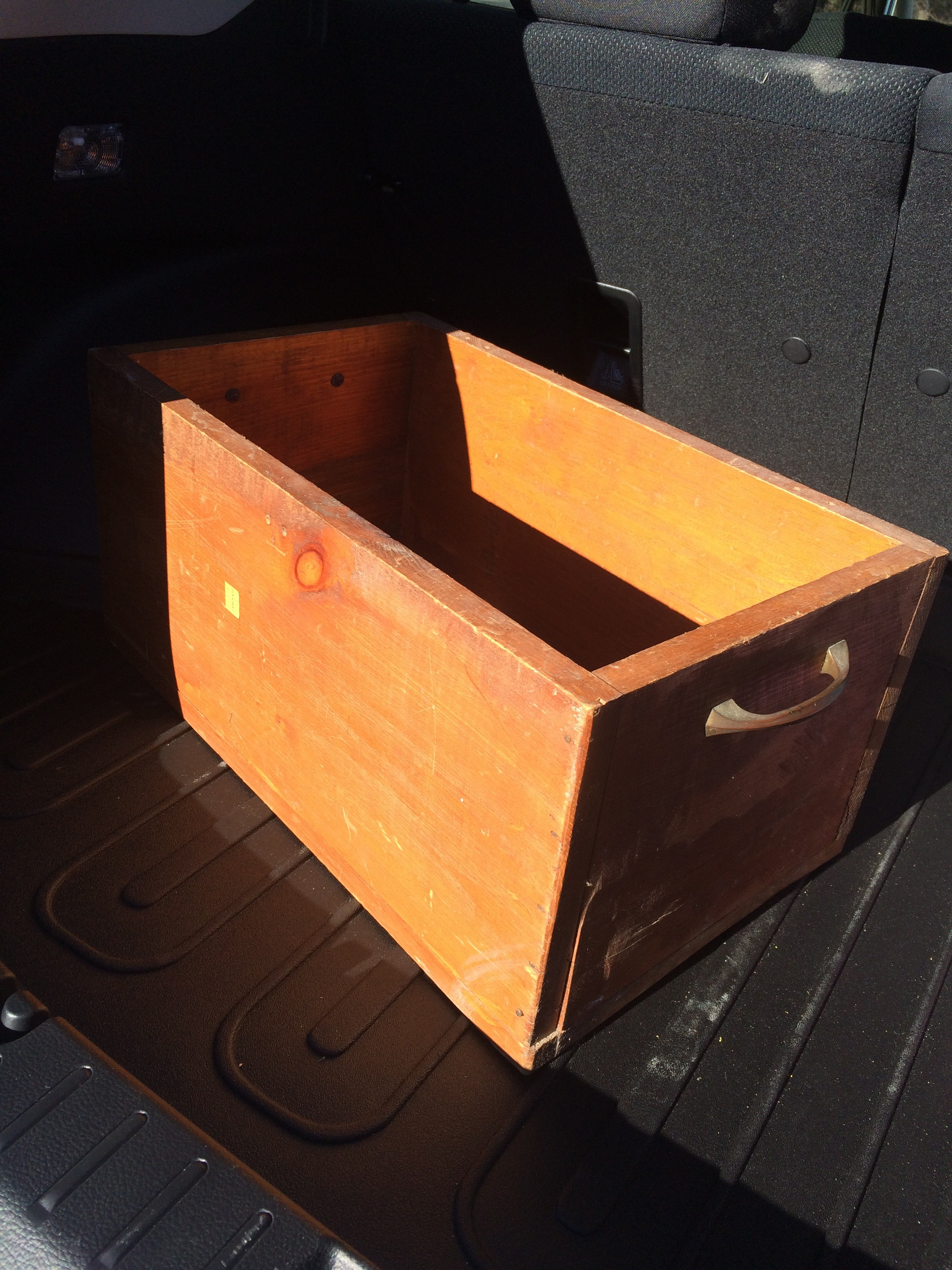 Thrifted hand-made wooden crate. || RustopiaConsulting.com