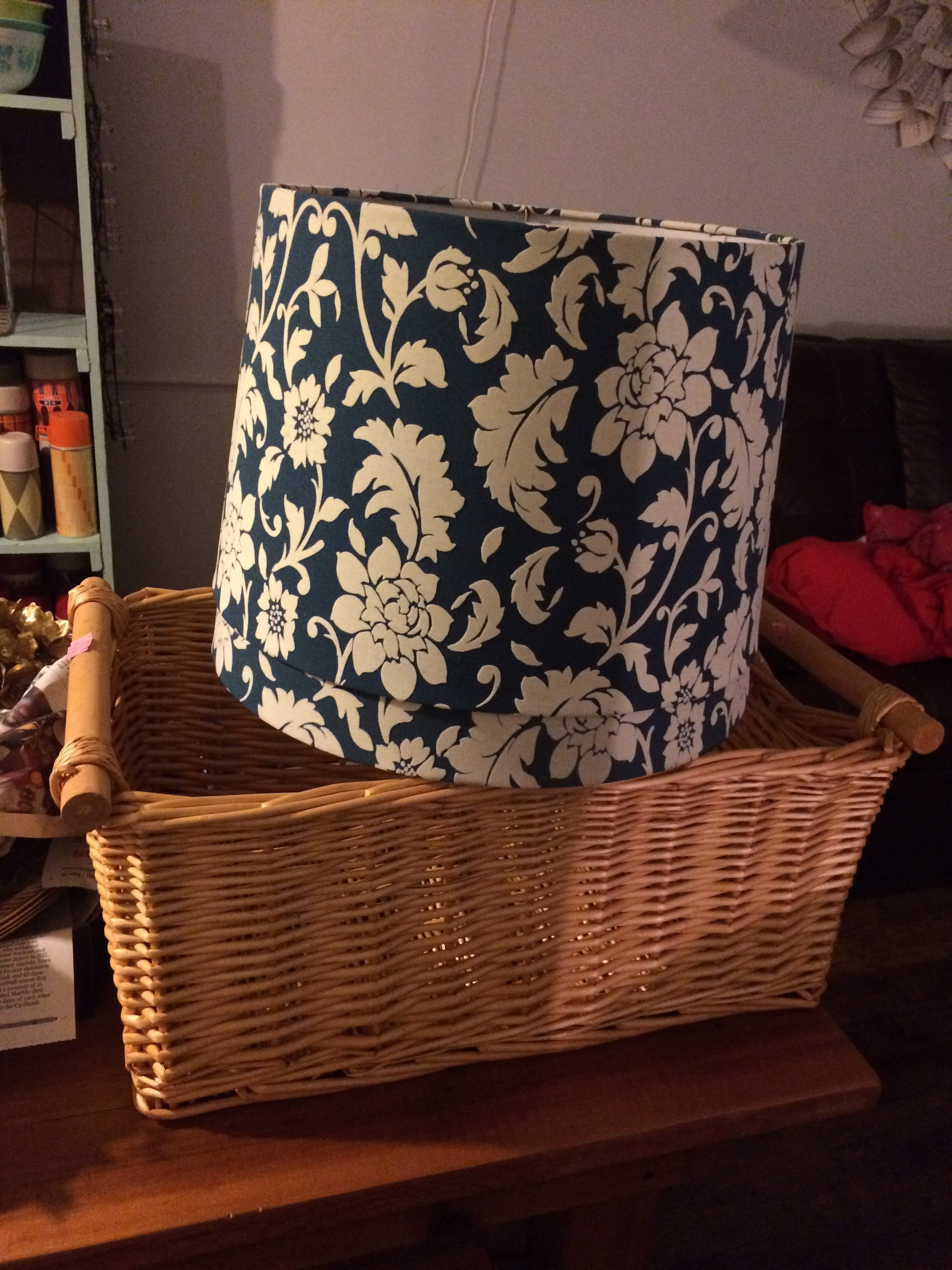 Two thrifted blue and white damask lampshades, and basket. || RustopiaConsulting.com