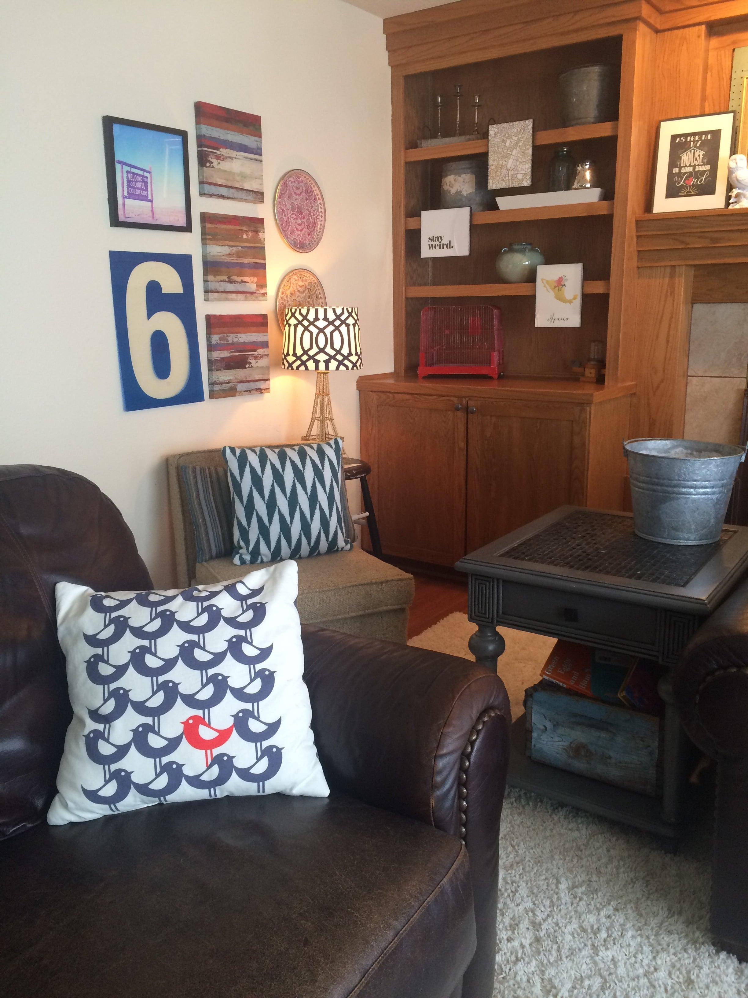 Red, white, and blue bird print pillow on a leather seat. || RustopiaConsulting.com
