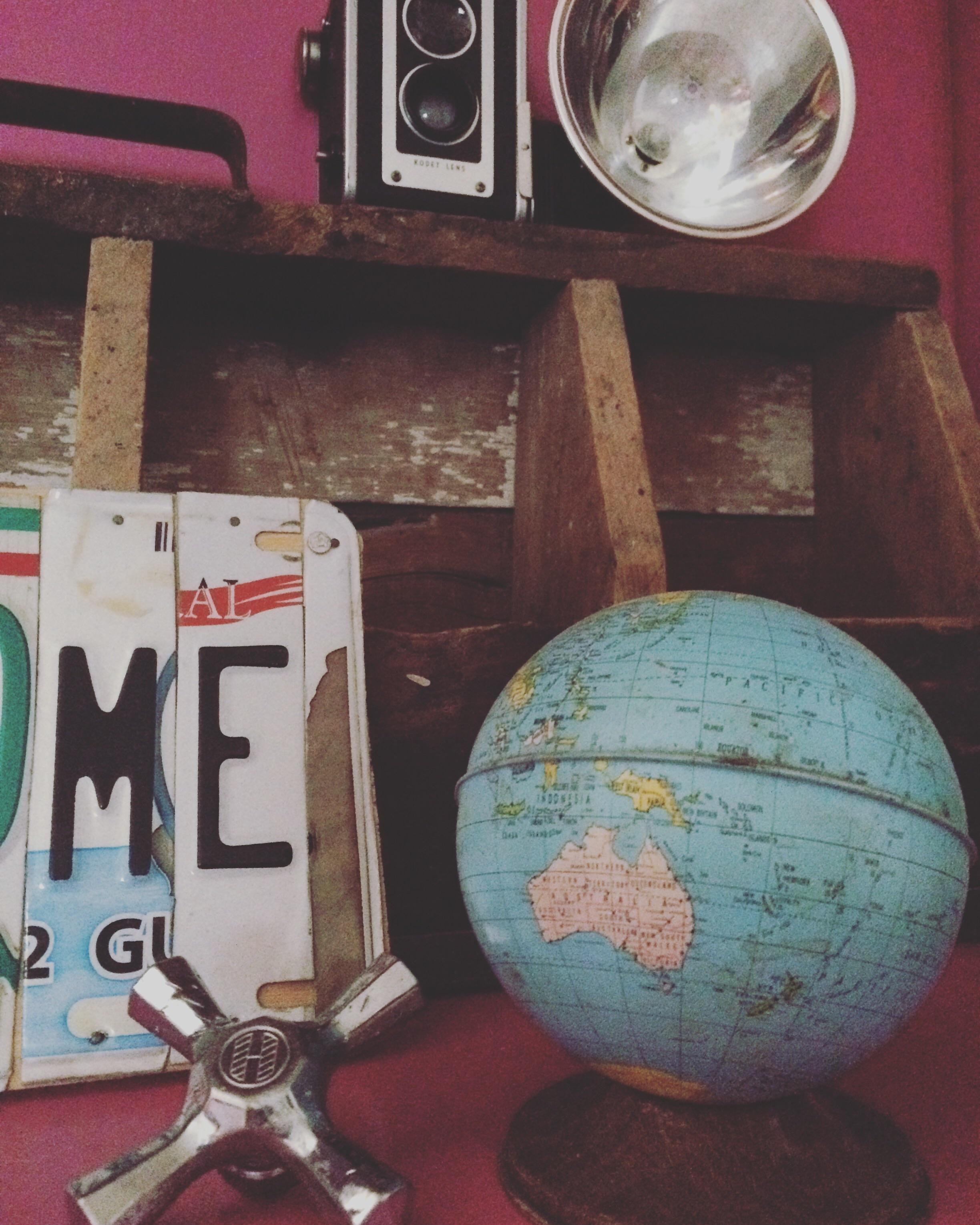 Vintage globe decor. || RustopiaConsulting.com
