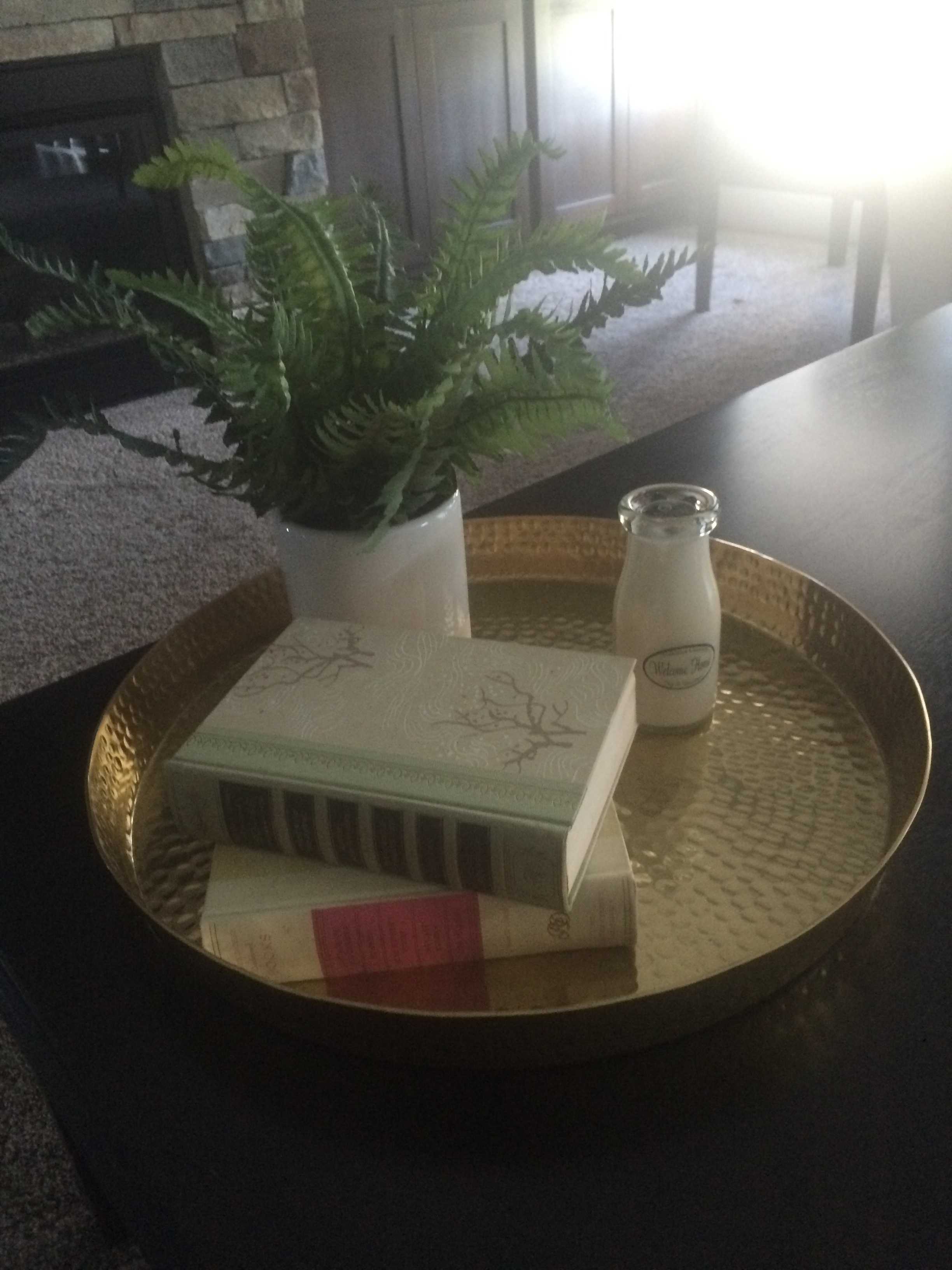 Coffee table tray with a plant, vintage books, and a vintage milk jar. || RustopiaConsulting.com