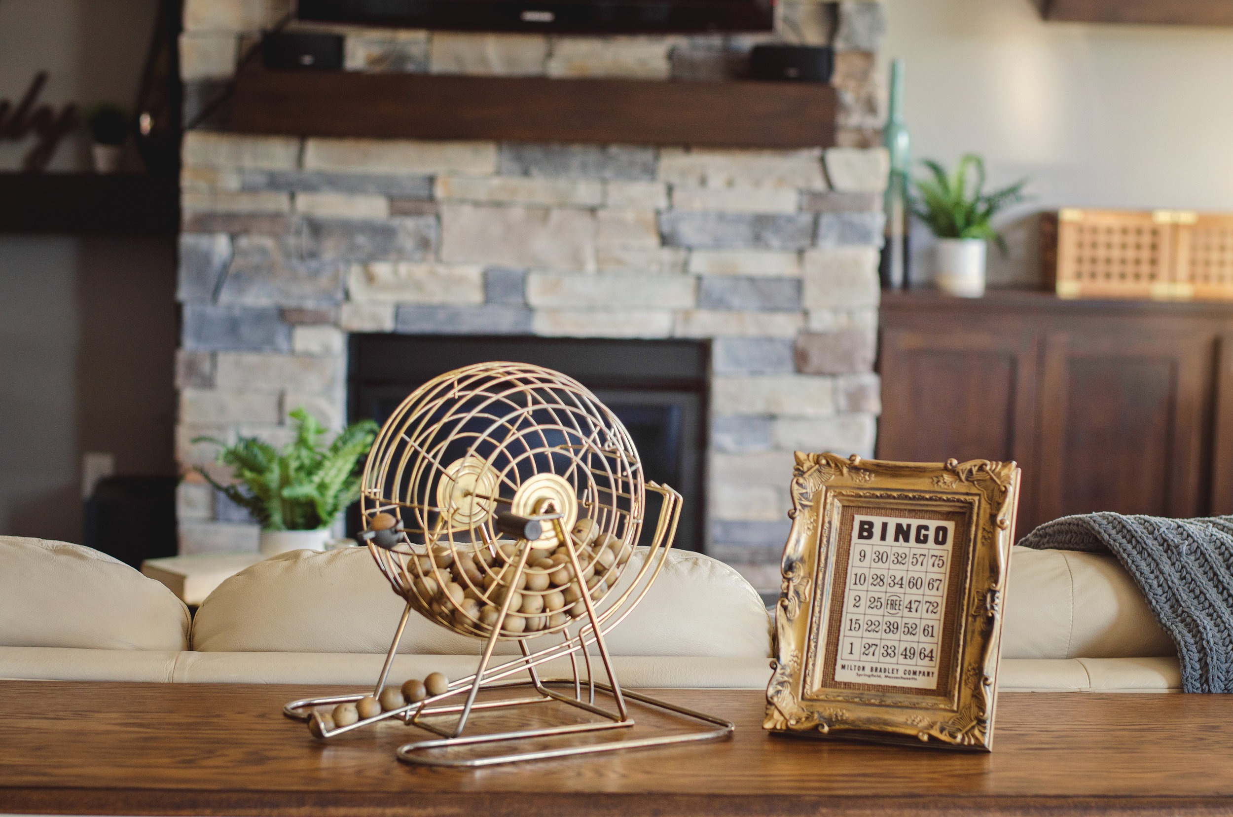 Bingo ball cage as home decor. | hprallandco.com