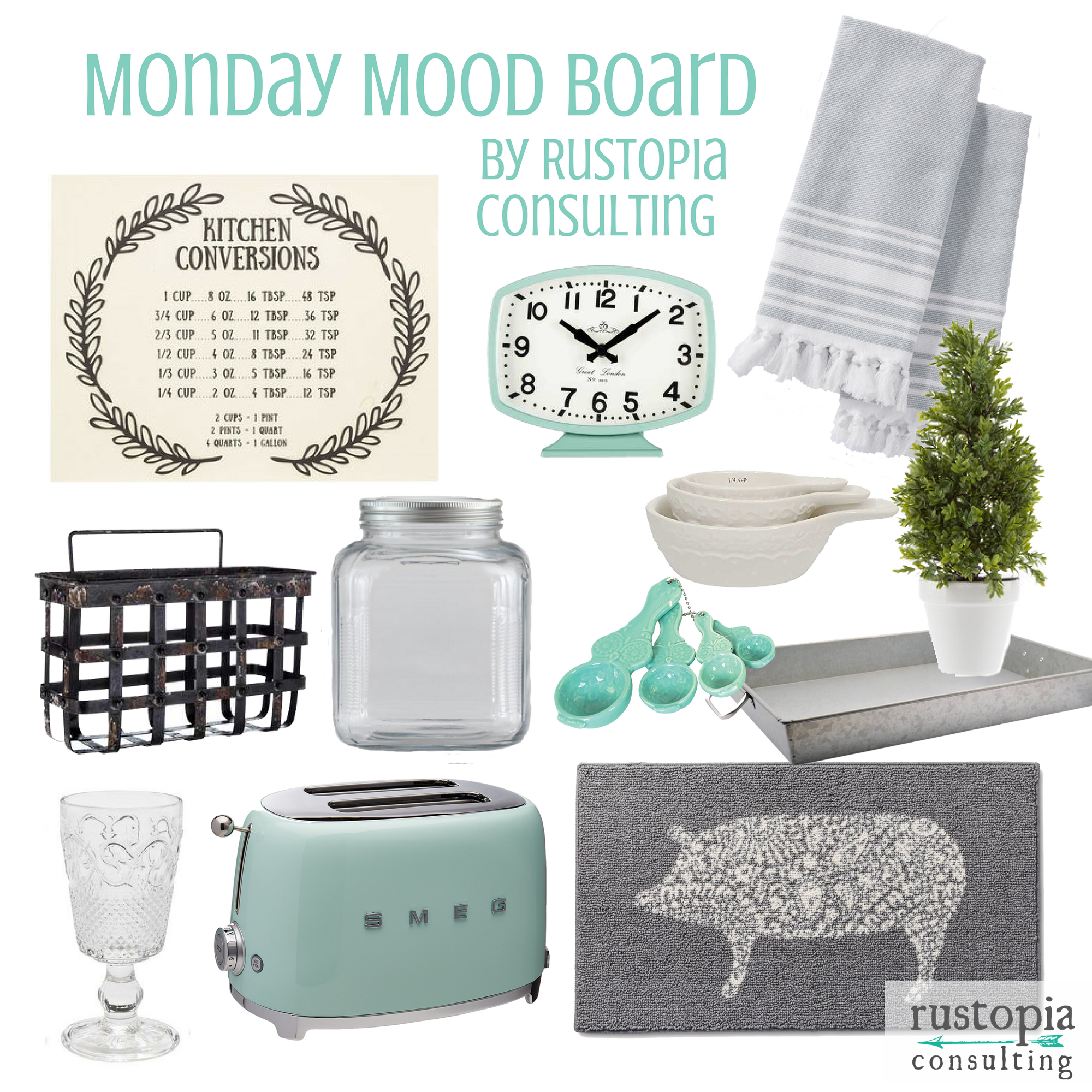 Mint kitchen mood Board featuring mint appliances, and farmhouse style kitchen decor and accessories.   RustopiaConsulting.com