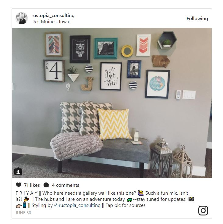 Rustopia Consulting Instagram post featuring a gallery wall. | RustopiaConsulting.com