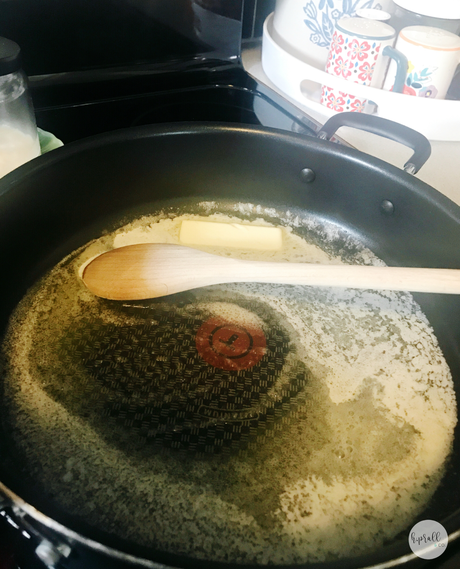 Melting butter in a skillet for Turkey Pot Pie by  H.Prall & Co.