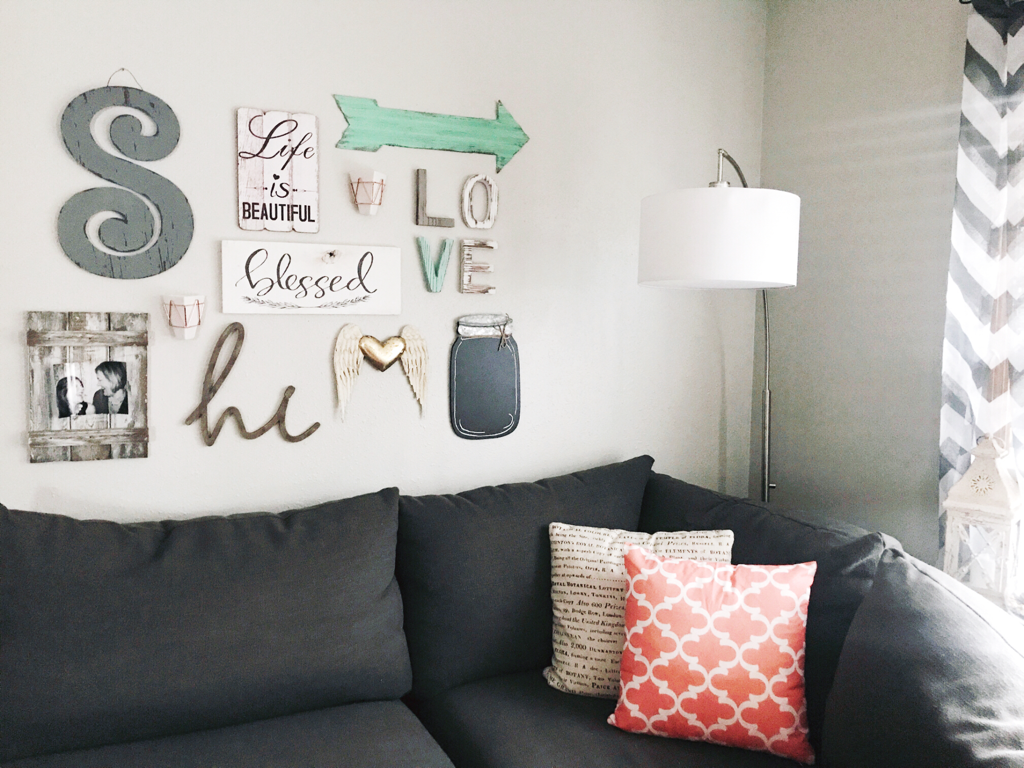 Gallery wall design with pops of mint green by H.Prall & Co.