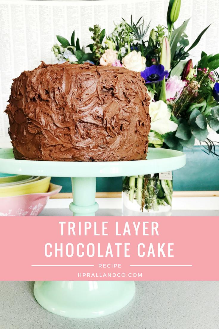 Triple Layer Chocolate Cake Recipe from H.Prall & Co. | Interior Decorating Blog hprallandco.com