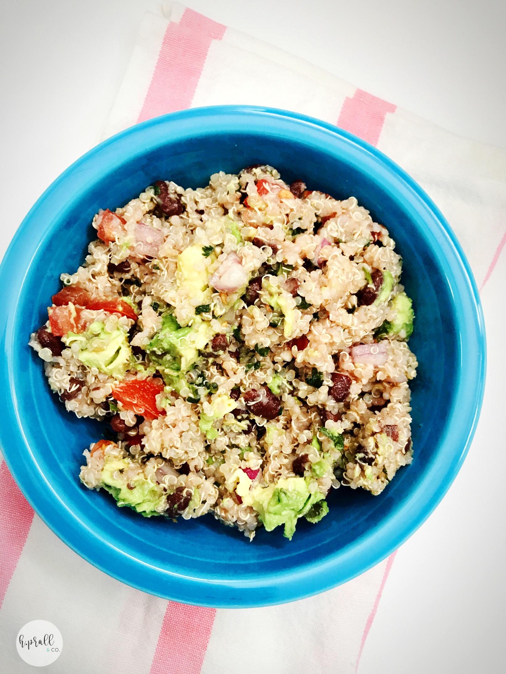 Blue bowl of Southwest Quinoa Salad from H.Prall & Co.   hprallandco.com