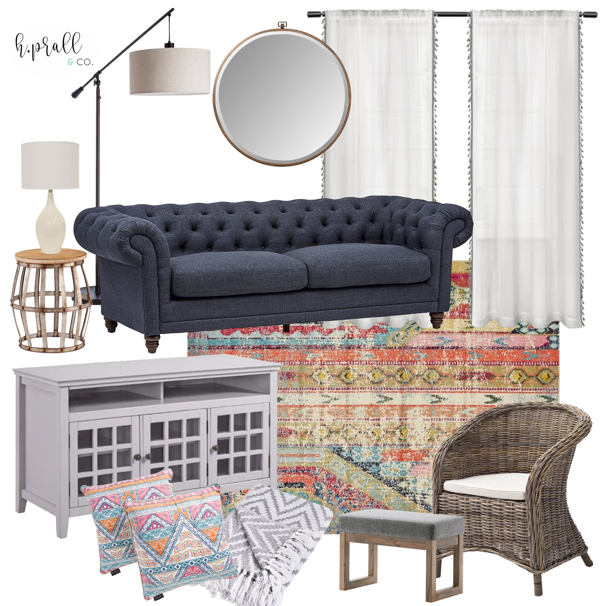 Living room design using pops of color   H.Prall & Co Interior Decorating in Des Moines, IA
