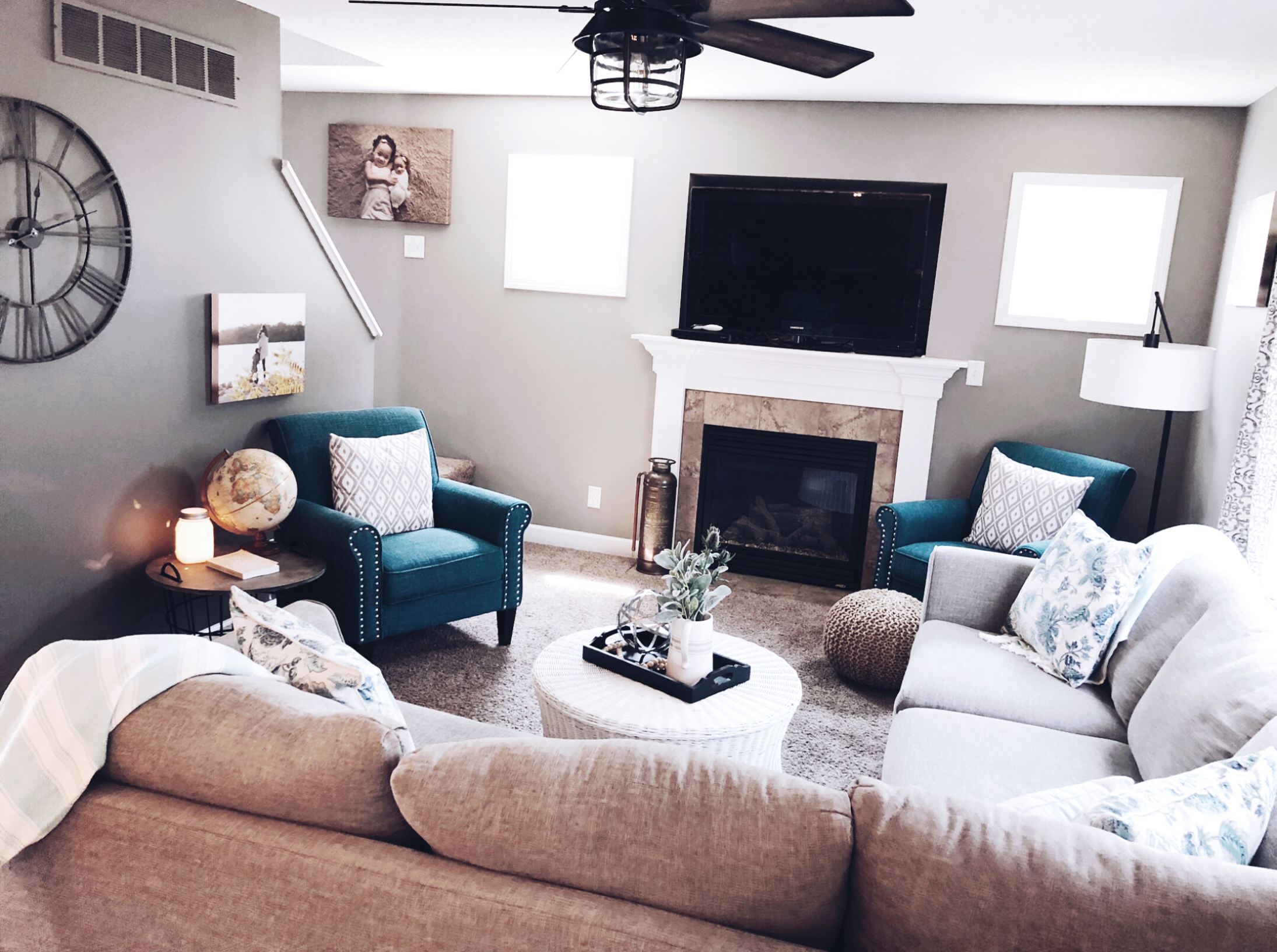 Is your house ready for some upgrades? I'm sharing some before + afters of a living room/dining room redo I worked on recently. | HPrallandCo.com