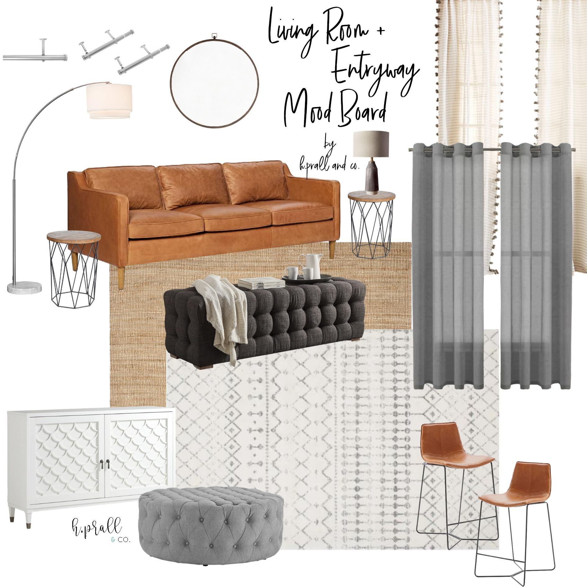 Living Room + Entryway Mood Board Design from HPrallandCo.com