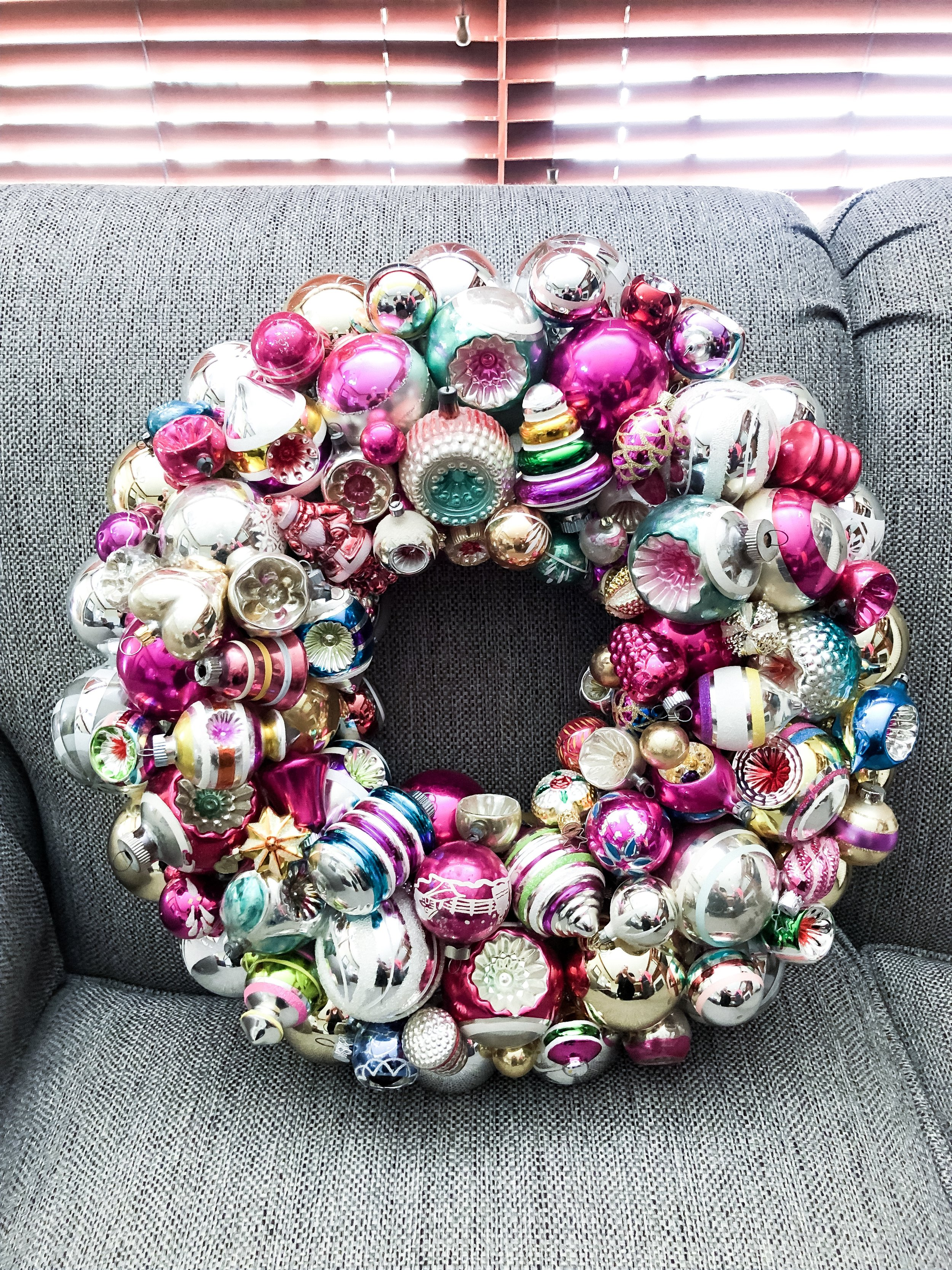 I made this beautiful Shiny Brite Christmas ornament wreath for a client using her own collection.