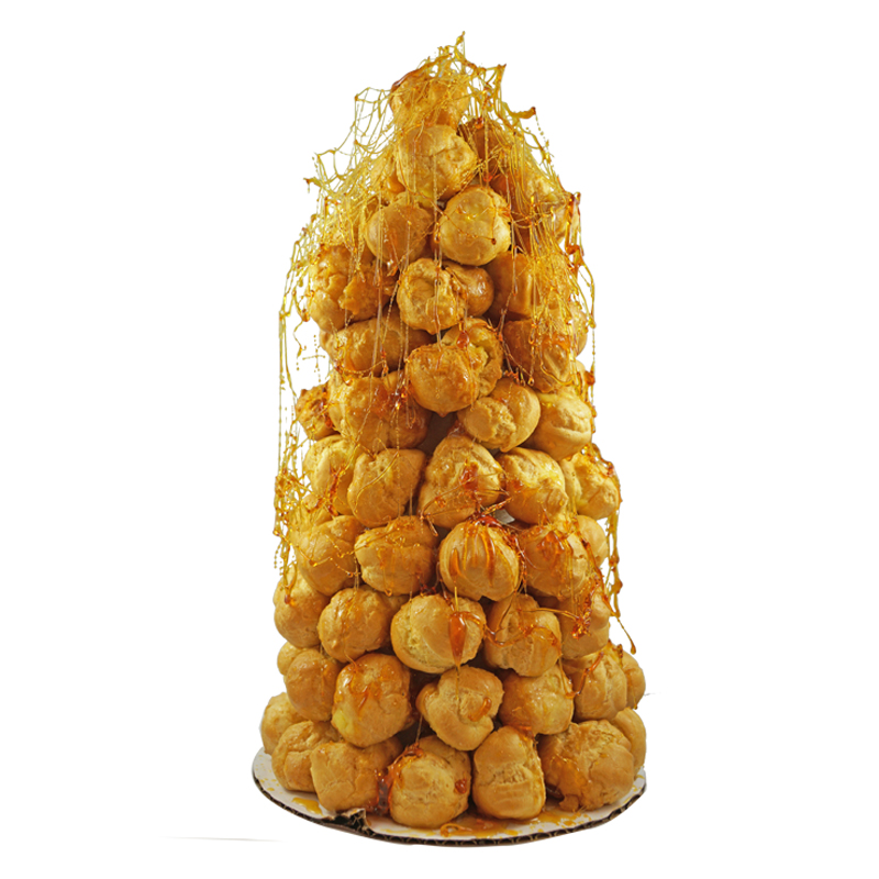 CREAM PUFF TREE (BIG)   A tree made of cream puffs, filled with cream, and covered in caramel and chocolate   $100