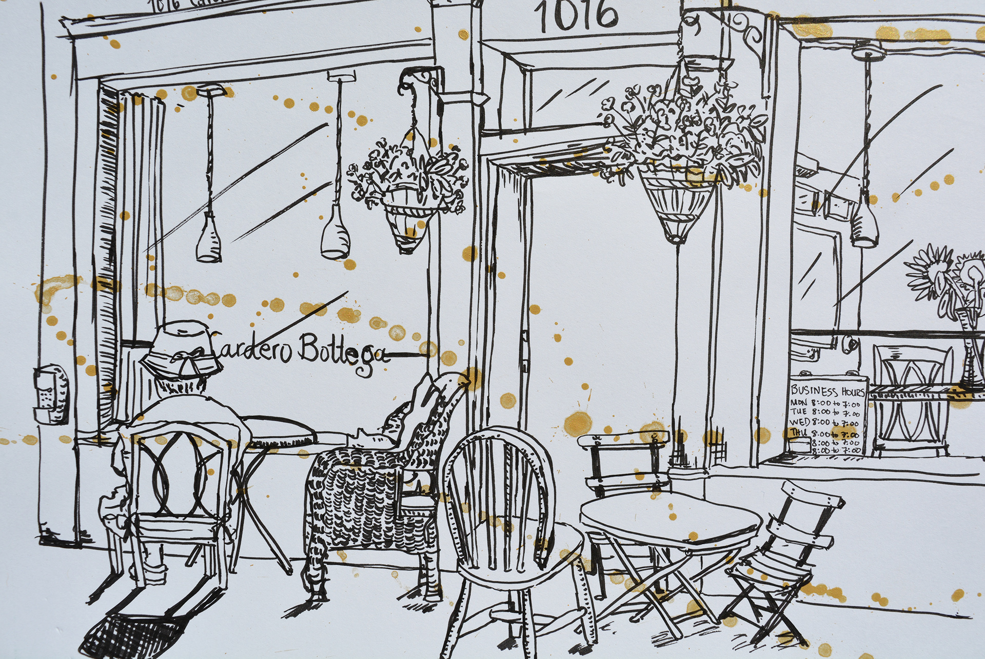 Cafe Bottega, a local cafe in Vancouver's West End neighbourhood. Pitt Fine Tip in Black; Pentel watercolour in Gold.