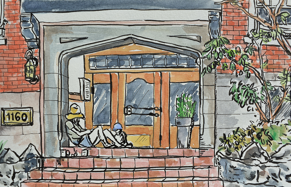 Watercolour study and sketch of 1160 Nicola St. West End. Vancouver BC.