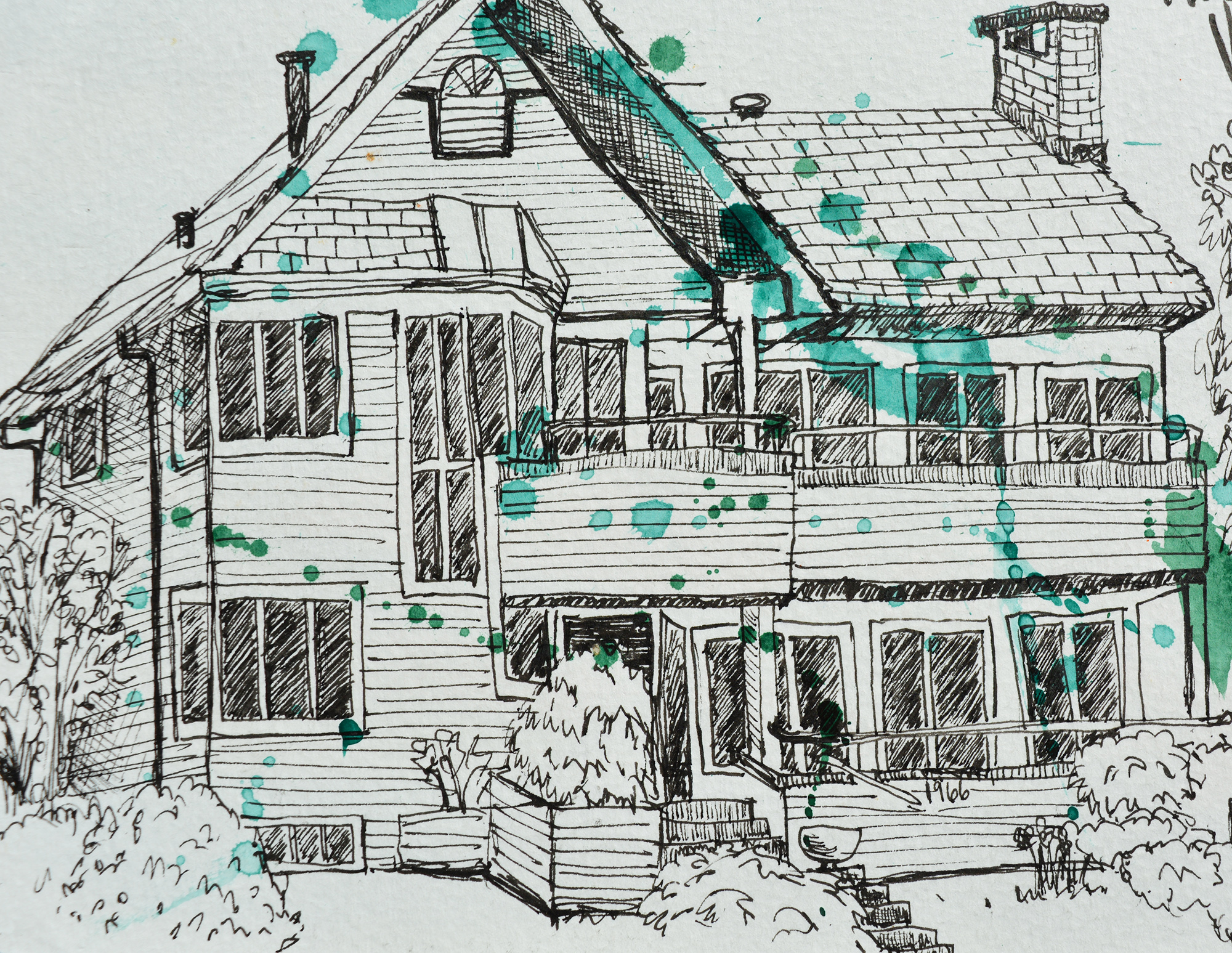 Pen and ink study of 1966 Odgen Ave. Kitsilano. Vancouver BC.