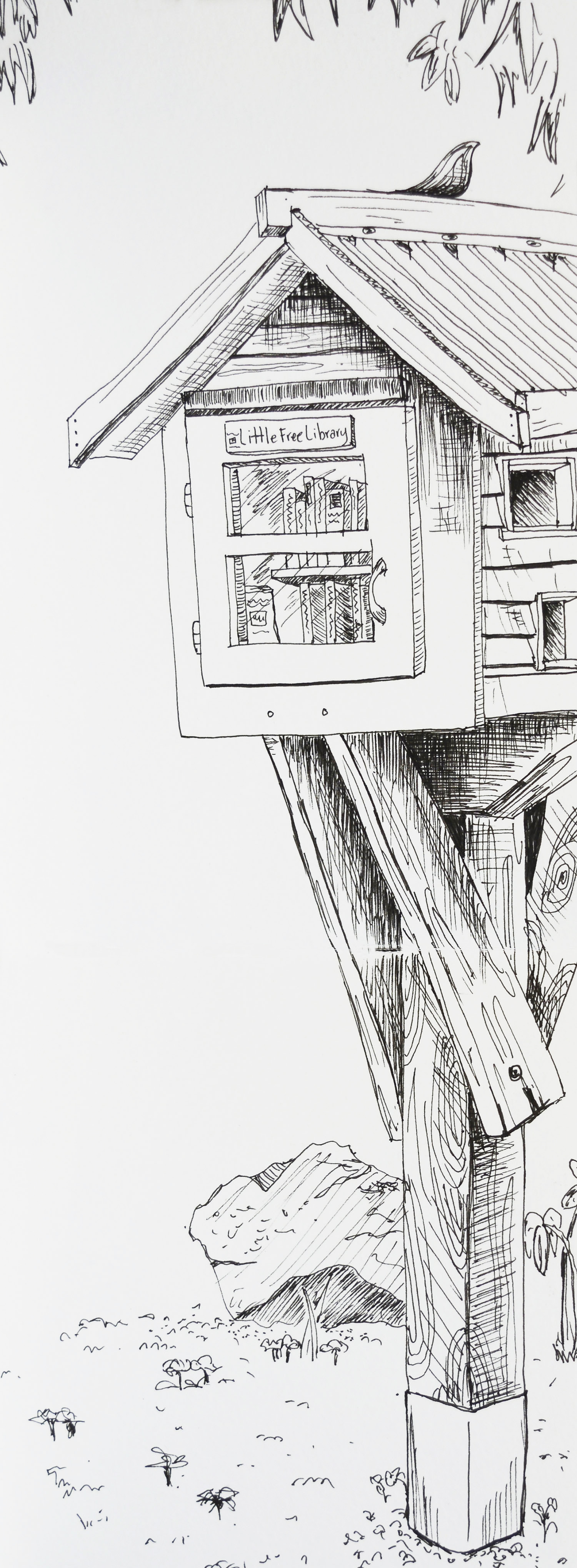 Cracked open a brand new Micron 05 pen on a summer afternoon on Granville Island, Vancouver to draw the Little Free Library.