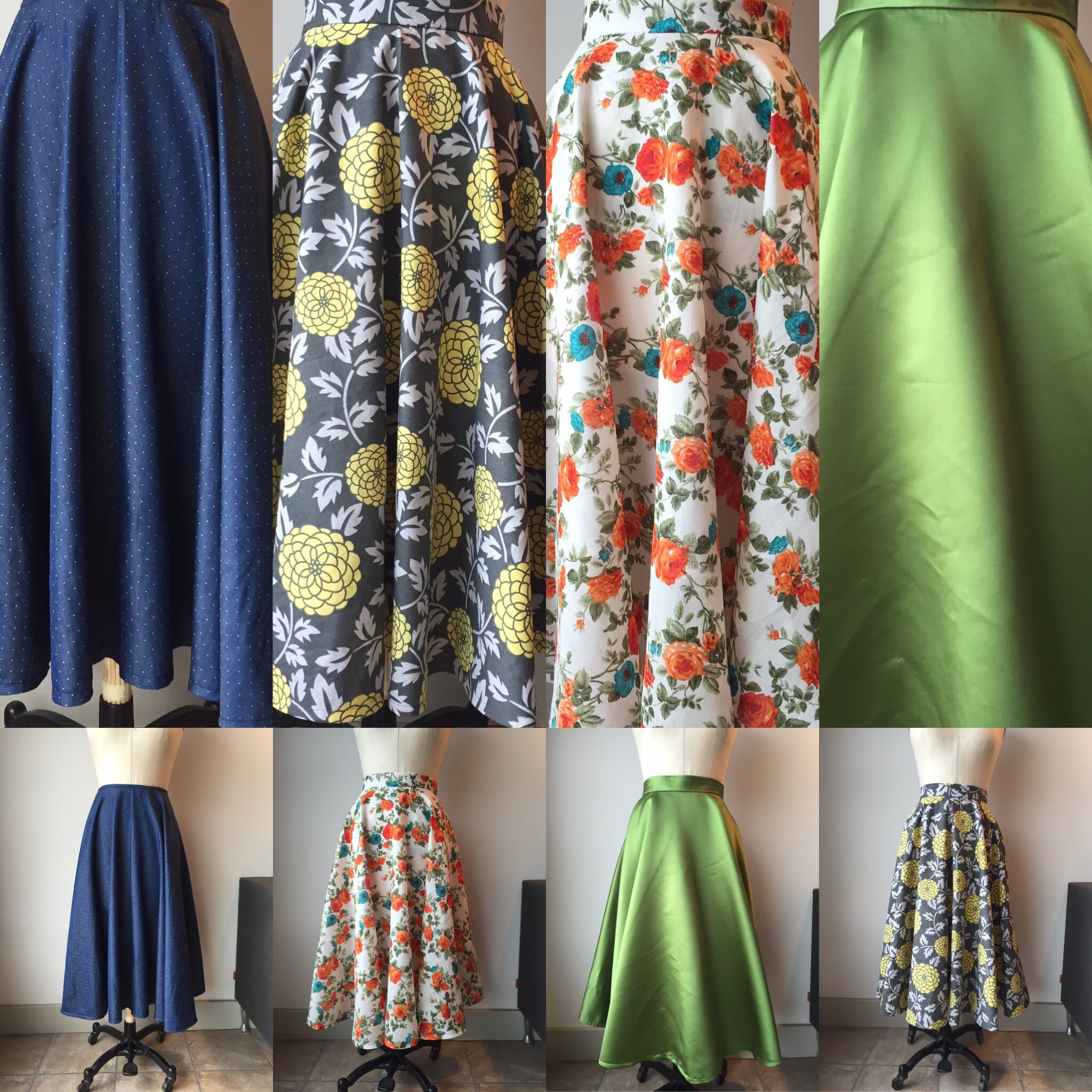 A small sampling of the skirts commissioned by my client.