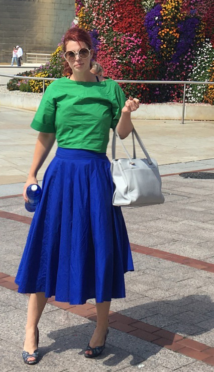 Custom made cotton mega circle skirt in ultramarine blue