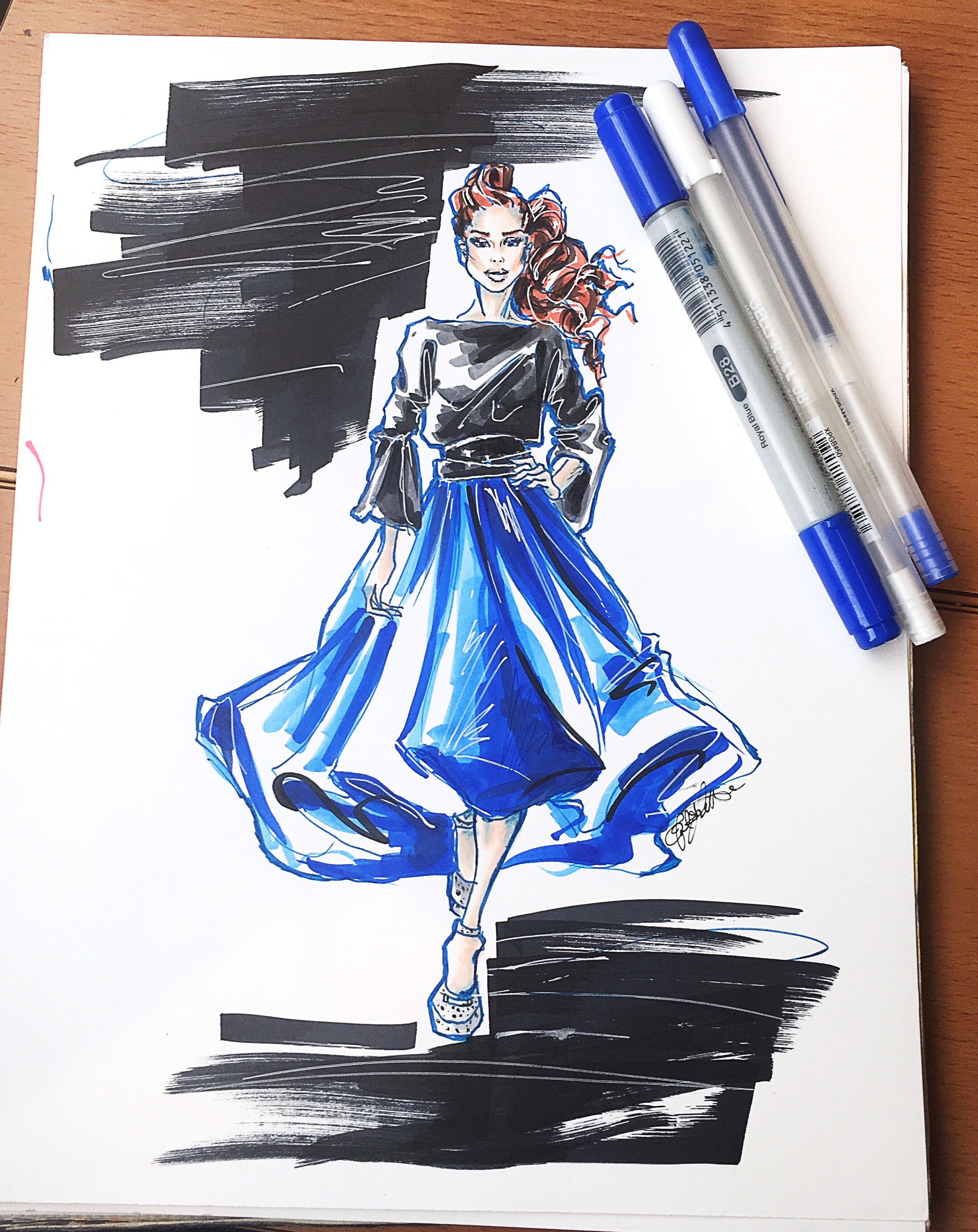 Fashion illustration of the ultramarine mega circle skirt. Photo courtesy of MelEesa Lorett. Find more of her work   here .