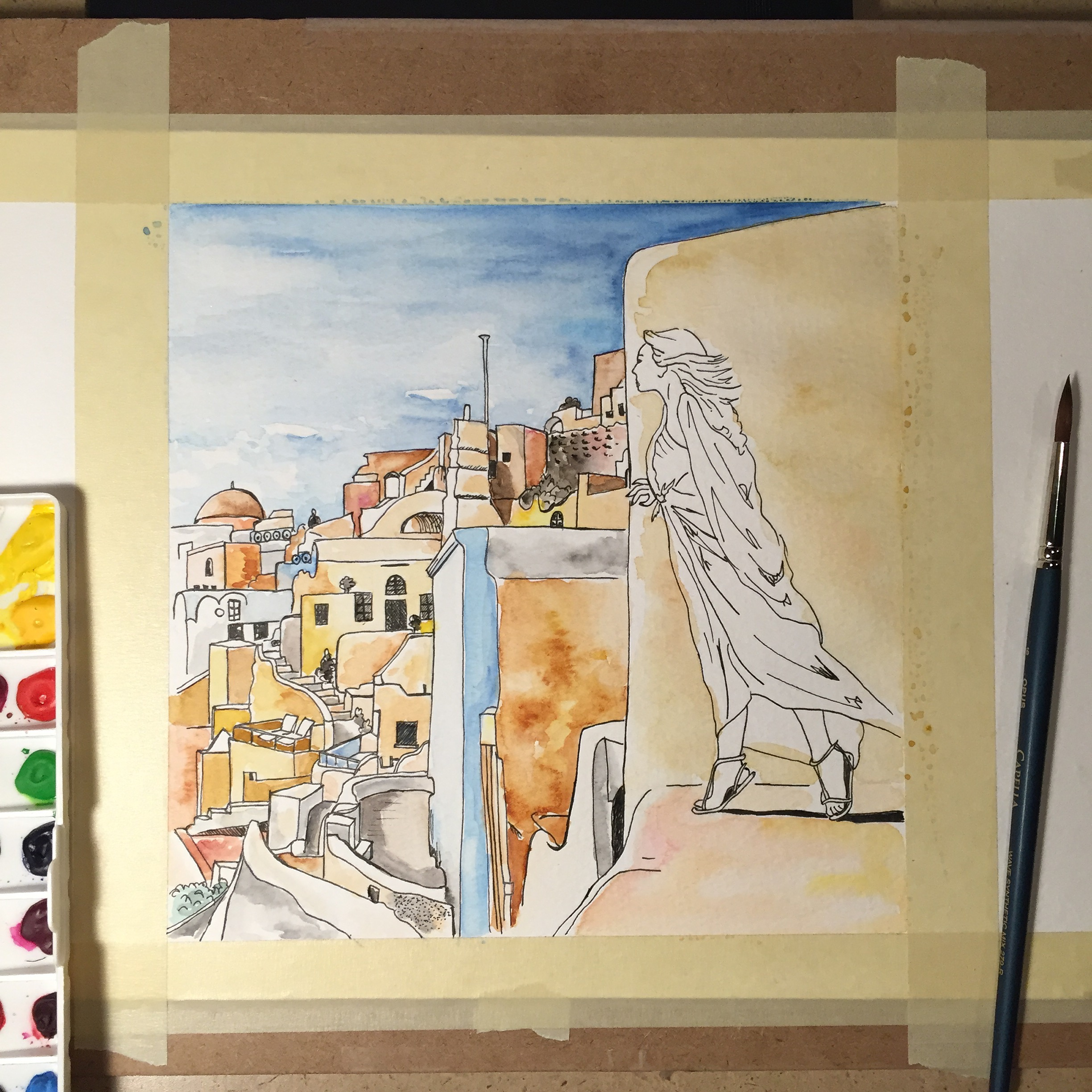 Followed by the first few layers of watercolour.