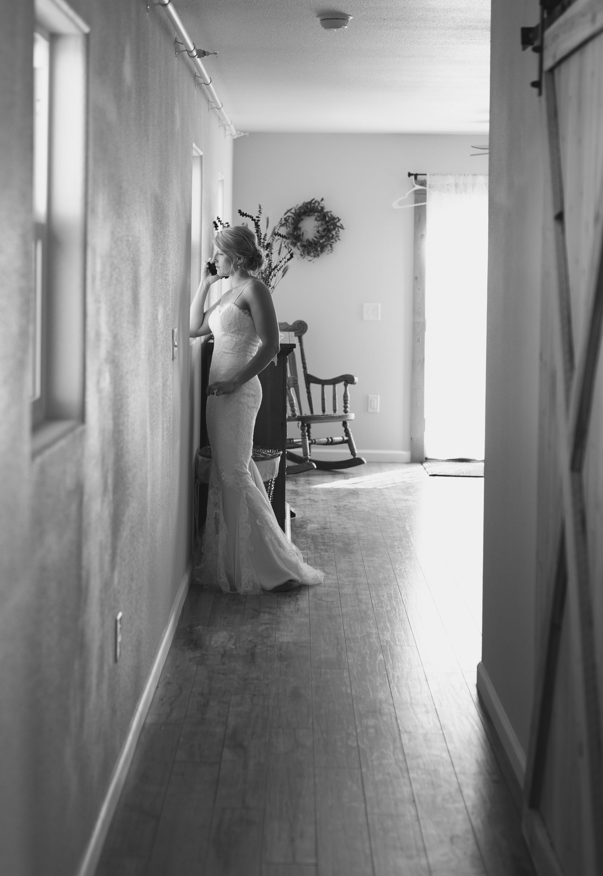 The barn's upstairs bridal suite is the perfect place to get ready before you walk down the aisle. Photo by Dina Remi Studios.