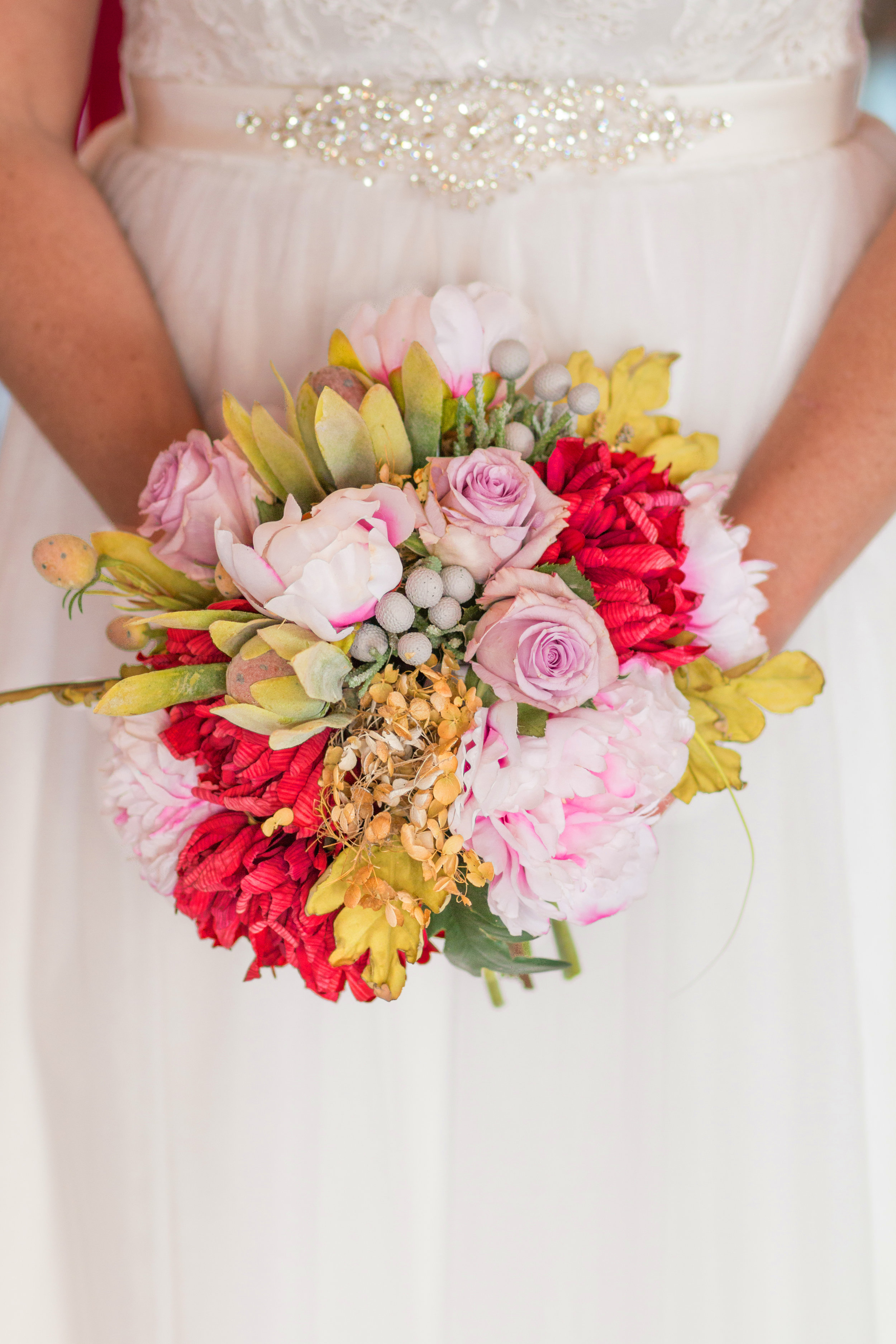 Rugged Horizon - Winter Wedding Dress & Flowers