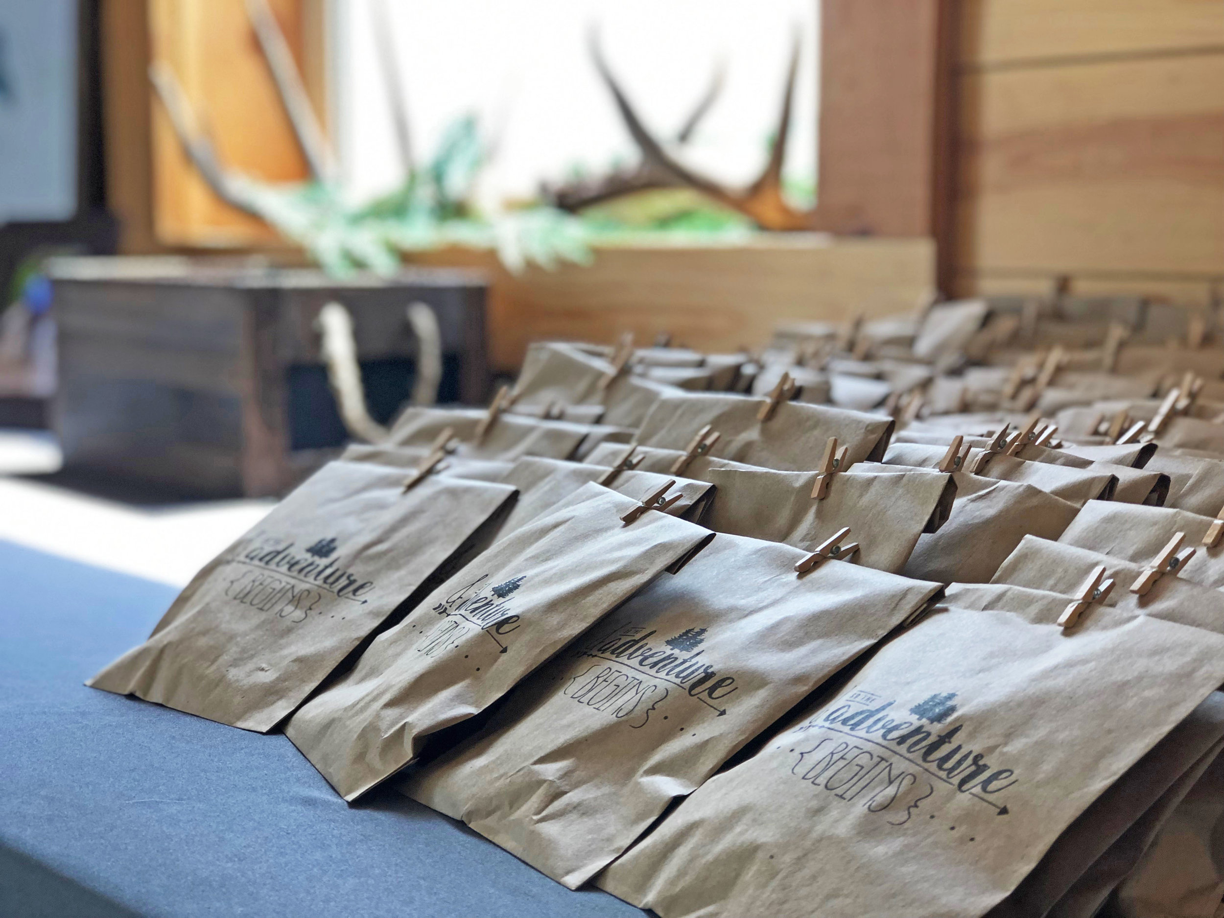"""The AdVenture Begins"" Wedding Favor Bags."