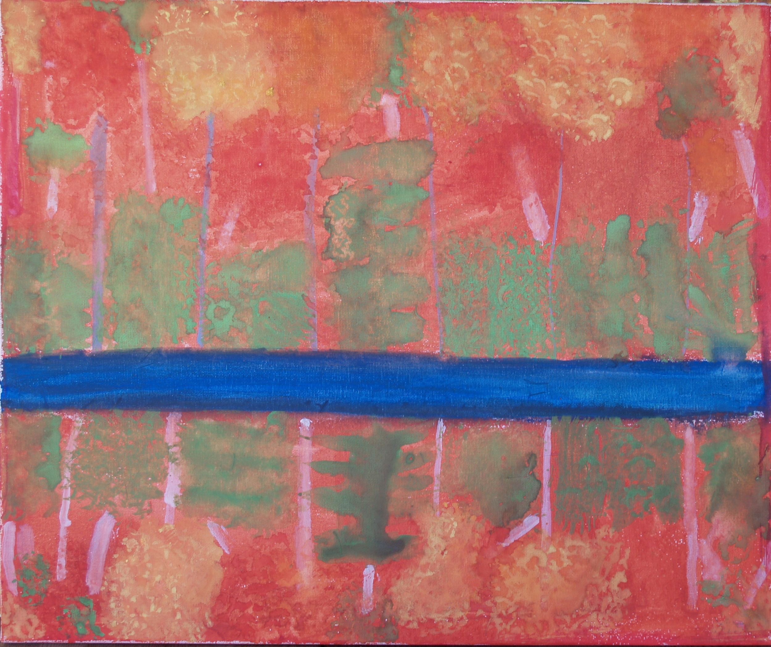 AUTUMN REDS, WATERCOLOUR ON CANVAS, 50 X 60CM