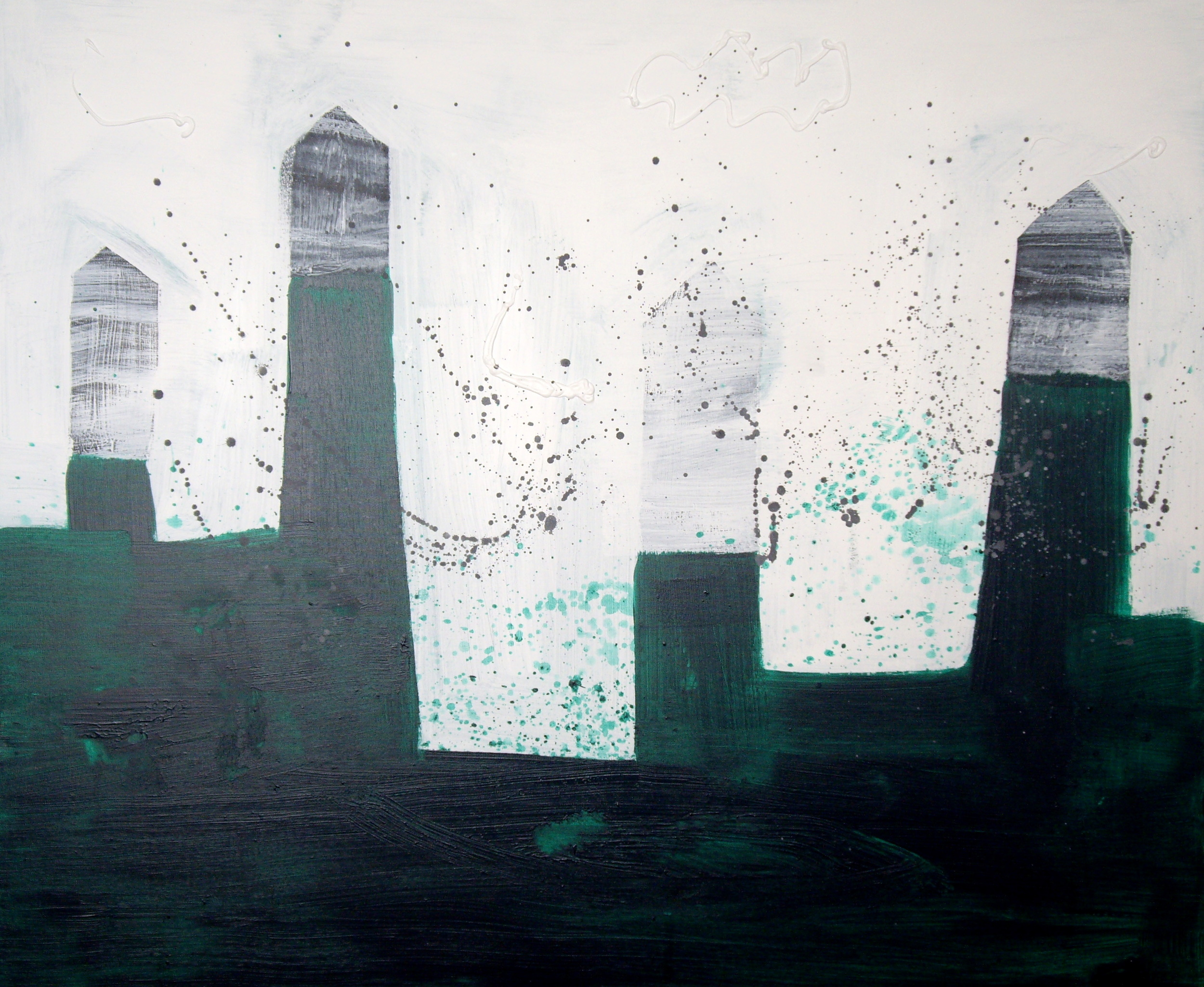 HOUSES ON SQUARE HILLS, ACRYLIC ON CANVAS, 120 X 90CM
