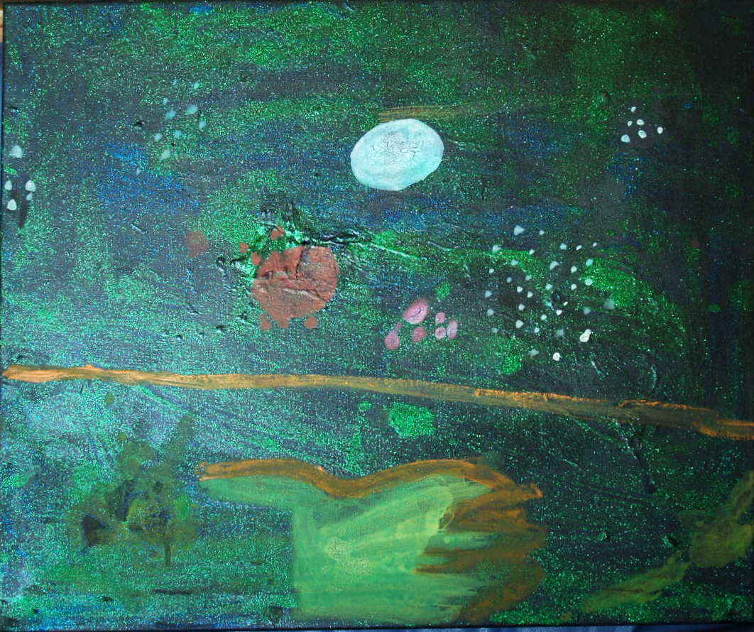GREEN NIGHTS, ACRYLIC ON CANVAS, 50 X 60CM