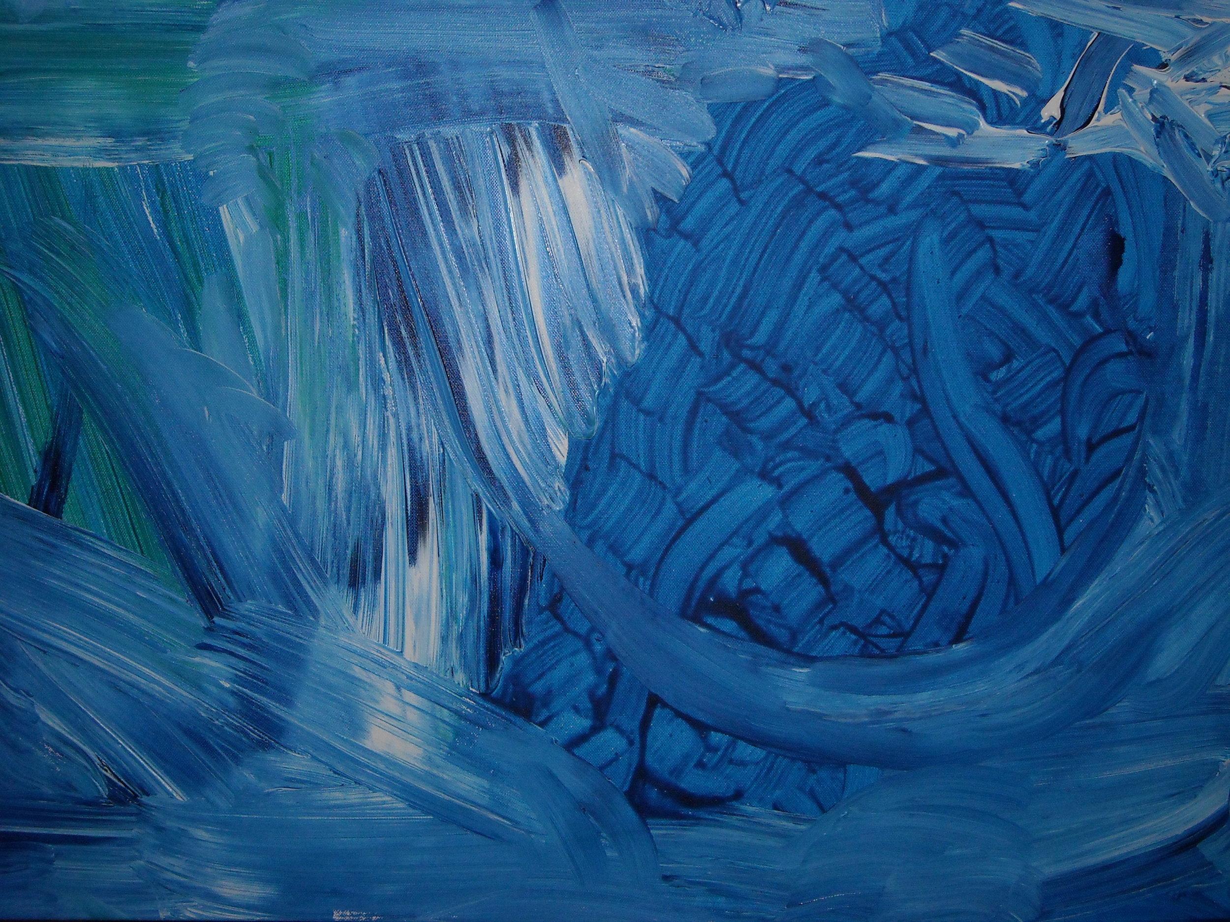 BLUE ABSTRACTION, ACRYLIC ON CANVAS, 60 X 70CM