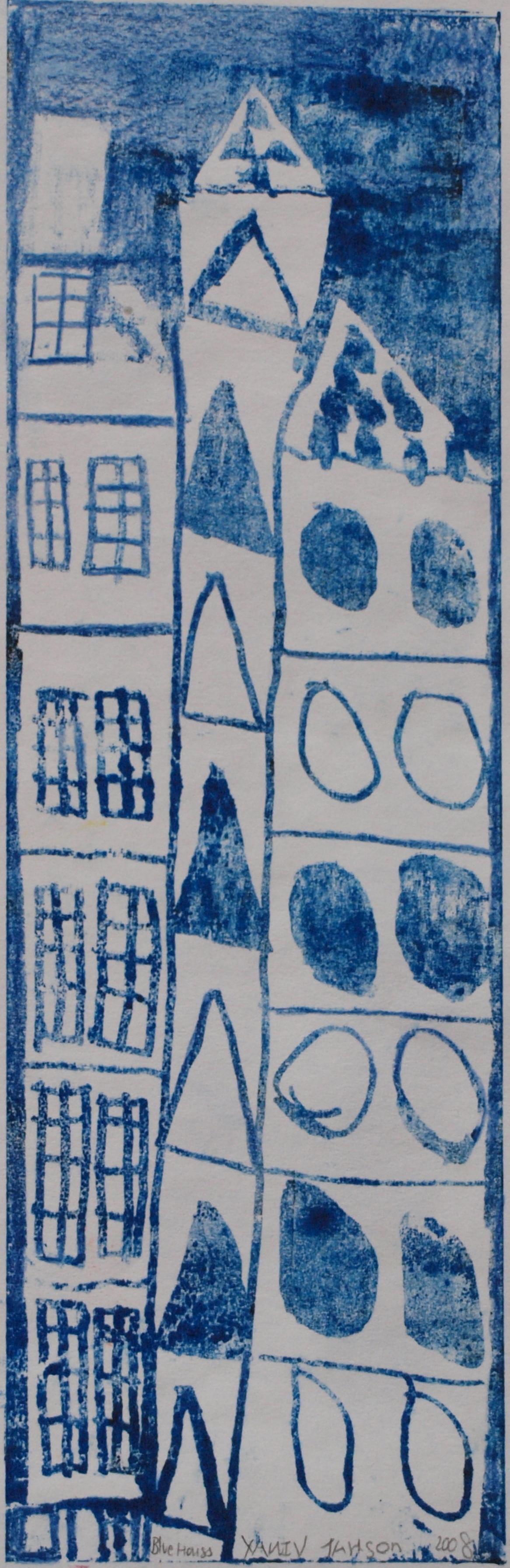 BLUE HOUSES, MONOPRINT, 12 X 38CM