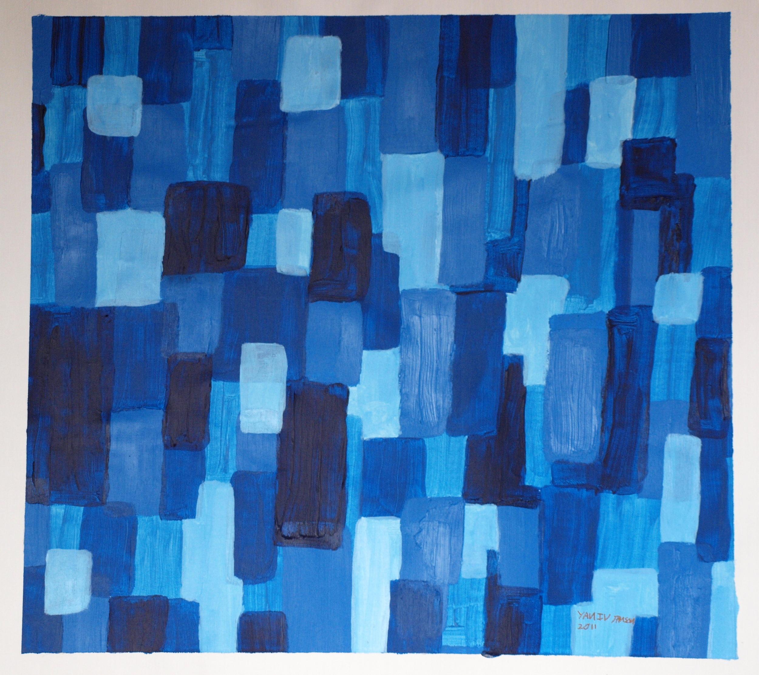 BLUES, ACRYLIC ON CANVAS, 56 X 61CM