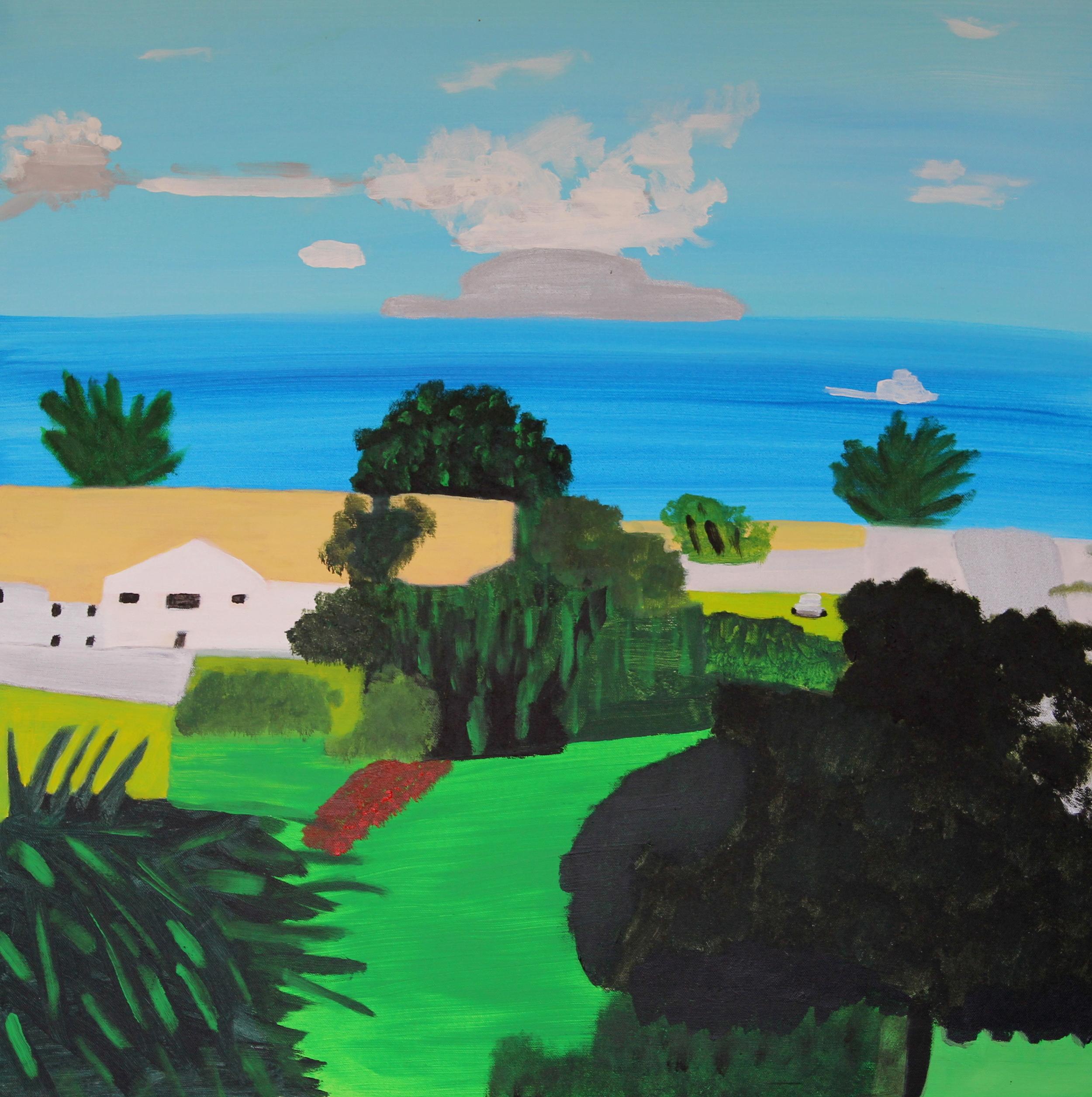 LITTLE BARRIER ISLAND, ACRYLIC ON CANVAS, 76 X 76CM