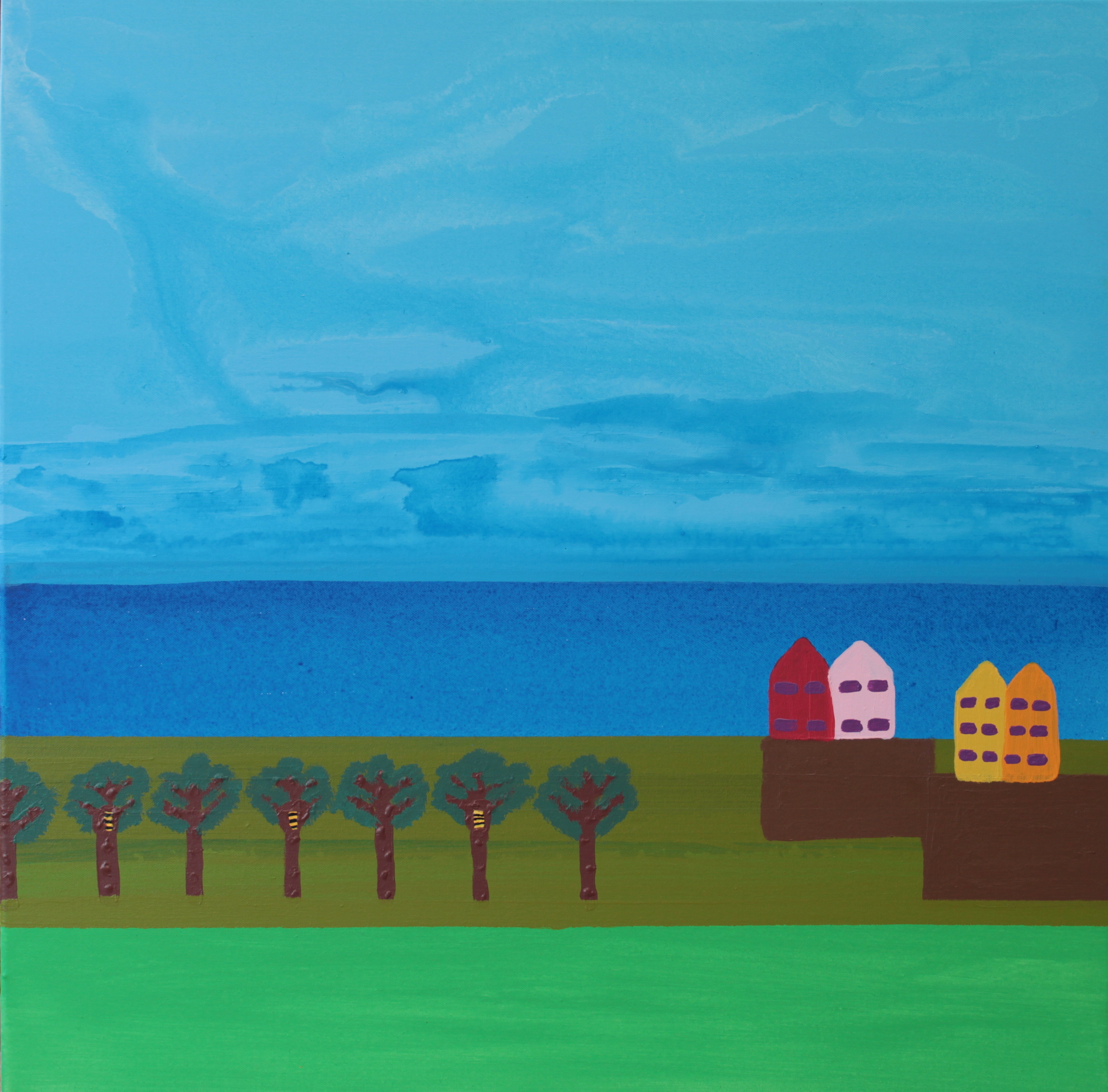 BEEHIVES ON DRY LAND, ACRYLIC ON CANVAS, 76 X 76CM