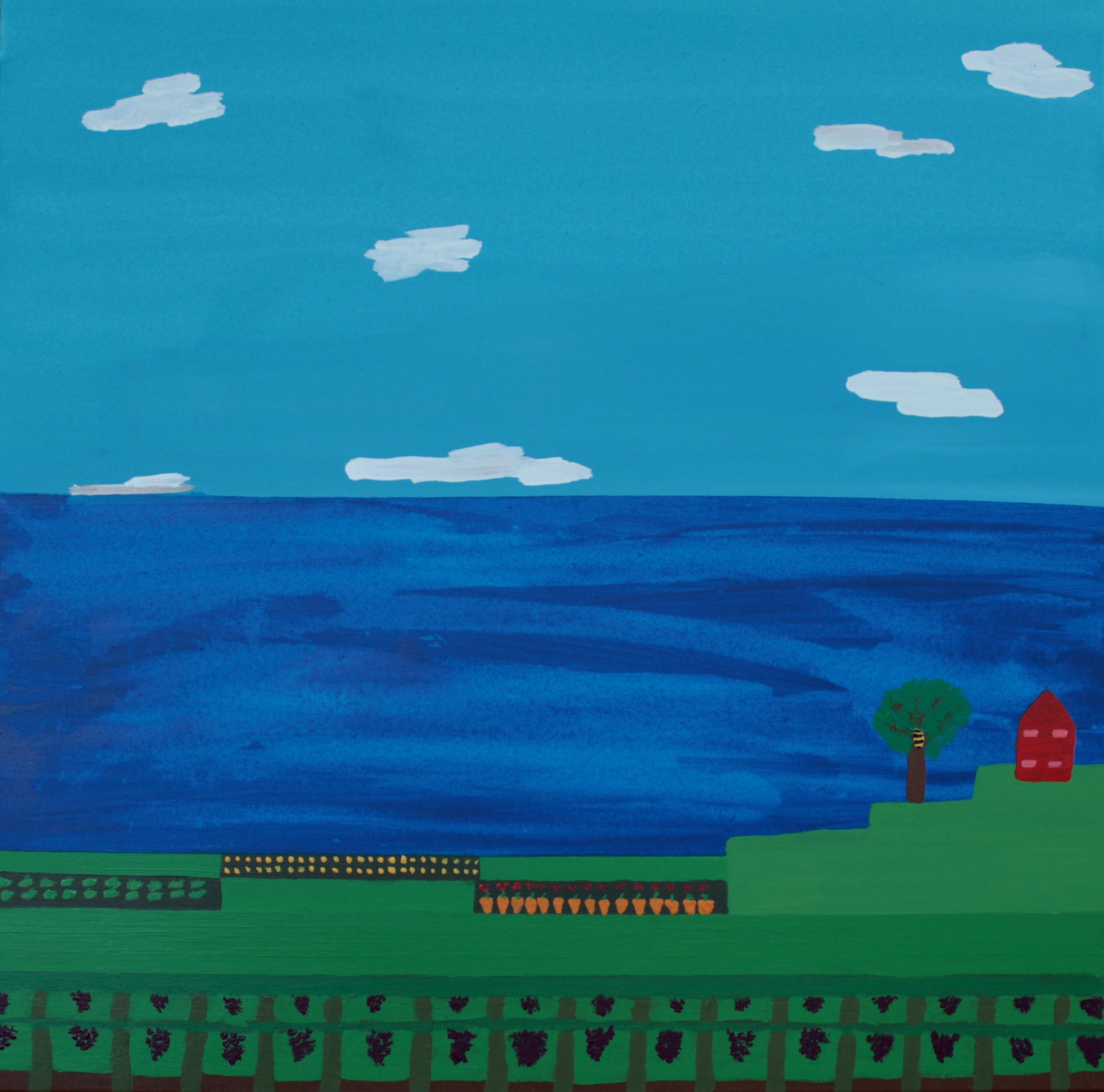 BEEHIVE ON A FARM, ACRYLIC ON CANVAS, 76 X 76CM