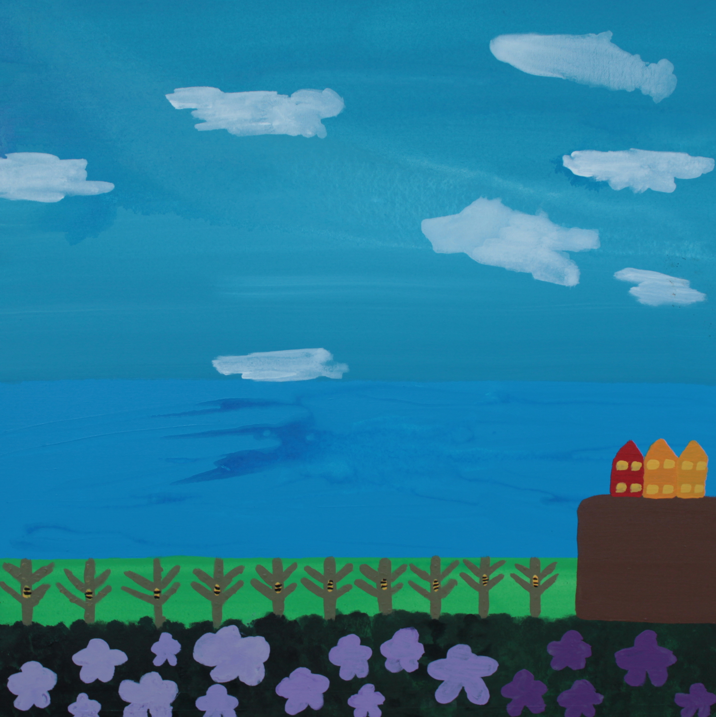 BEEHIVES YESTERDAY TODAY TOMORROW, ACRYLIC ON CANVAS, 76 X 76CM