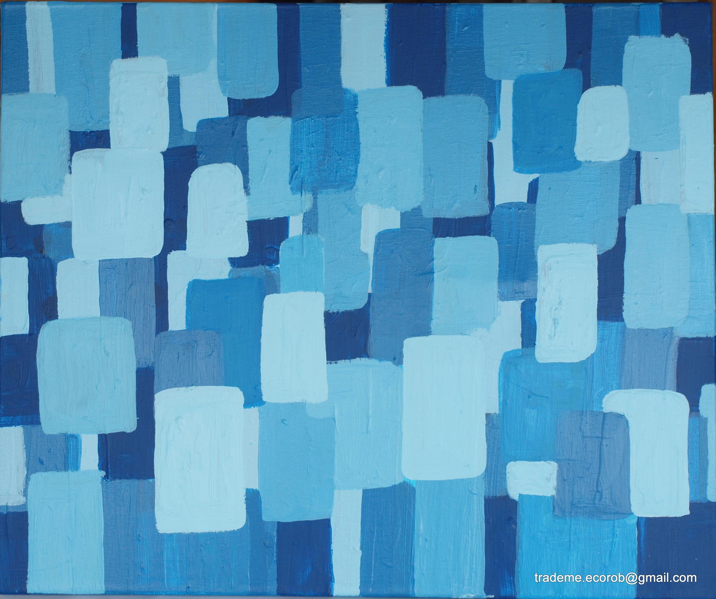 BLUES, ACRYLIC ON CANVAS, 50 X 60CM