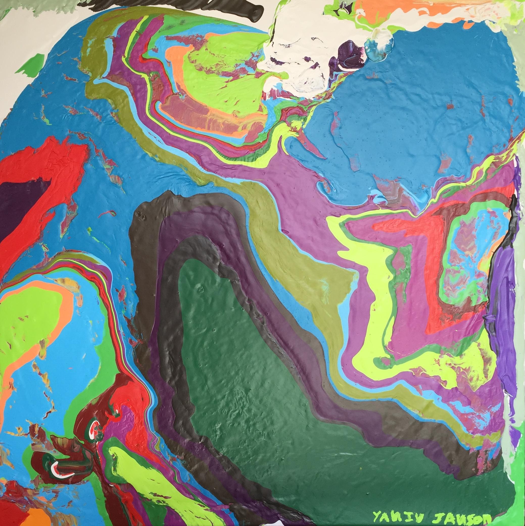 MESSY EARTH, ACRYLIC ON CANVAS, 76 X 76CM